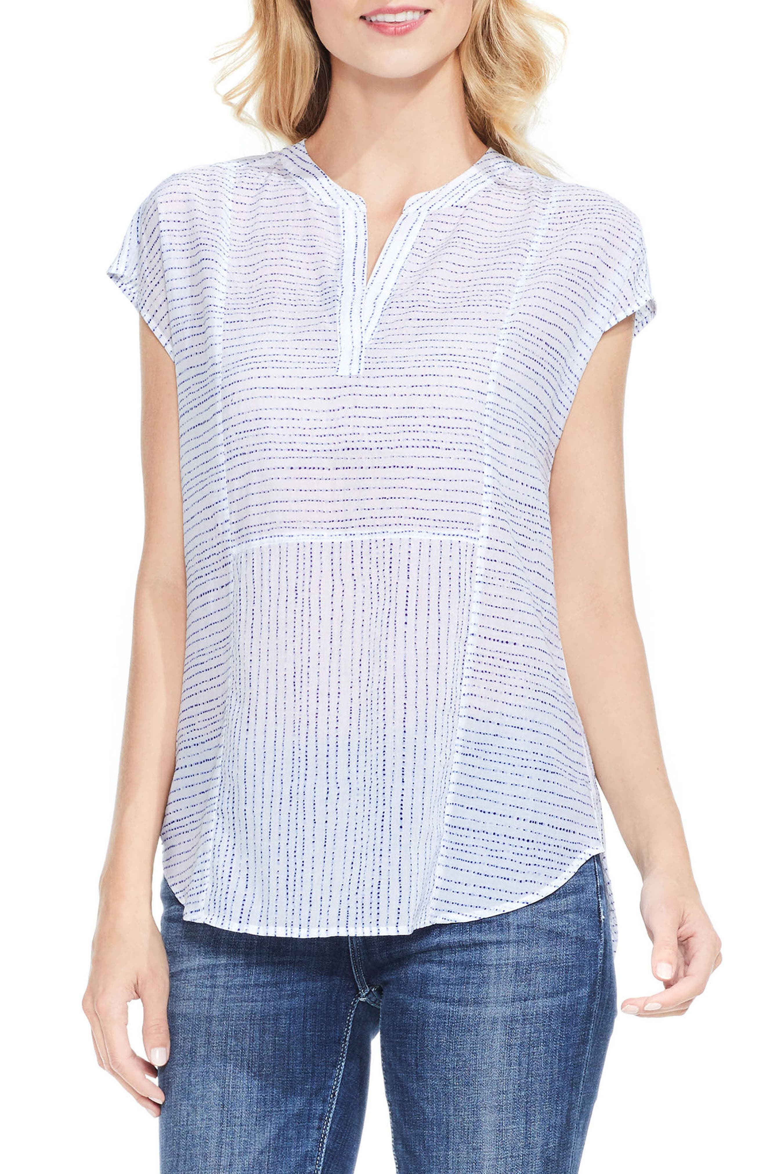 Two by Vince Camuto Print Cotton & Tencel® Blouse