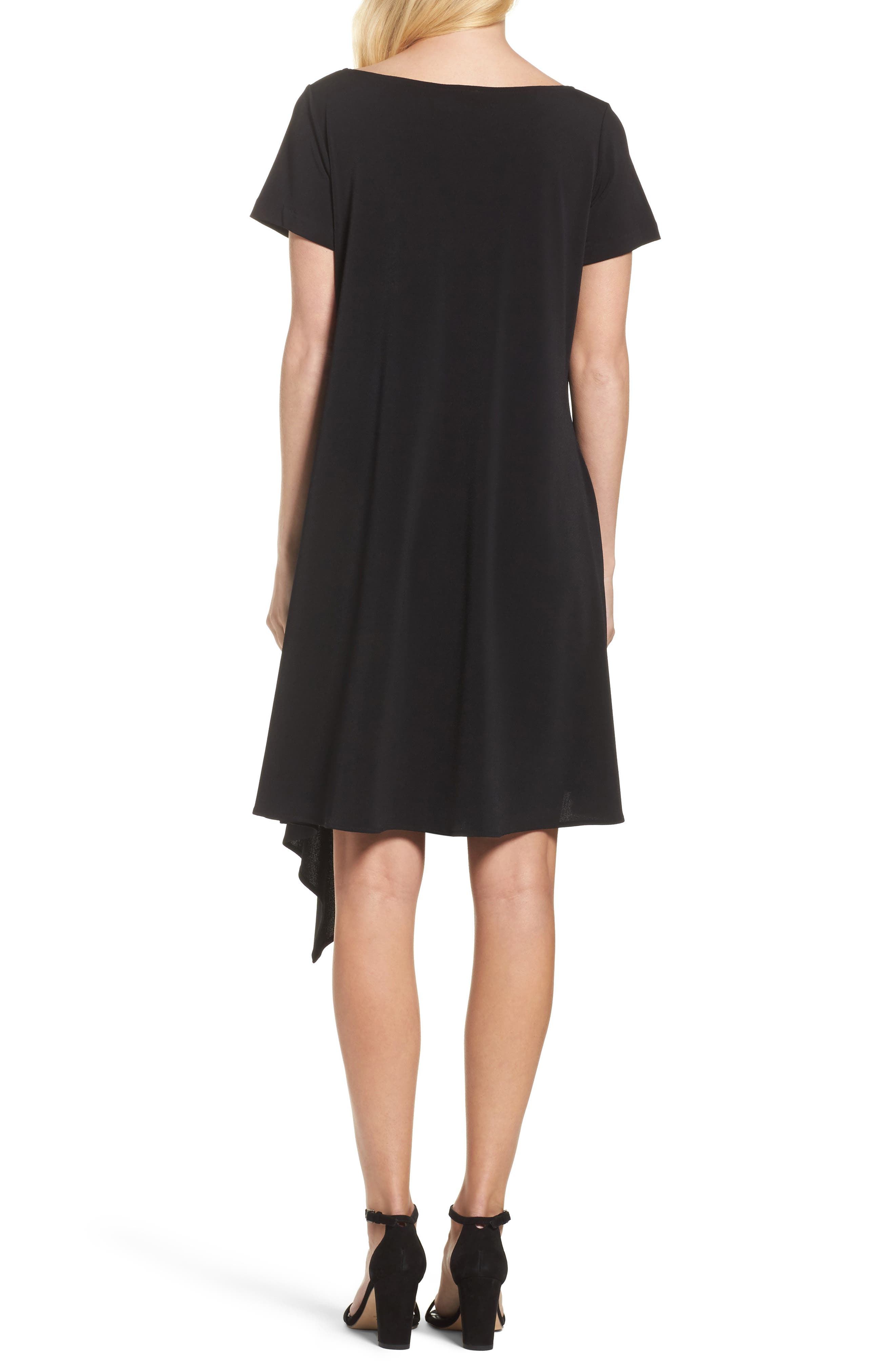 Darien Asymmetrical Dress,                             Alternate thumbnail 2, color,                             Black Crepe