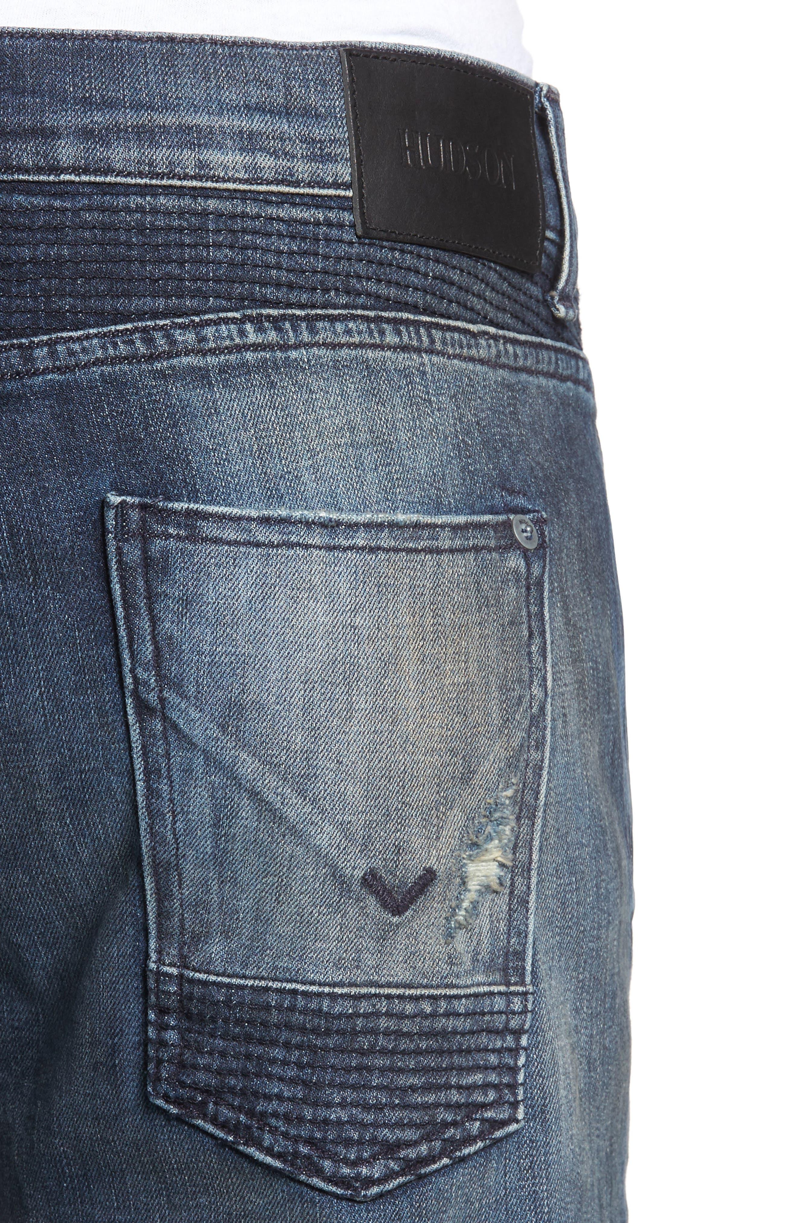 Blinder Biker Moto Skinny Fit Jeans,                             Alternate thumbnail 4, color,                             Babylon