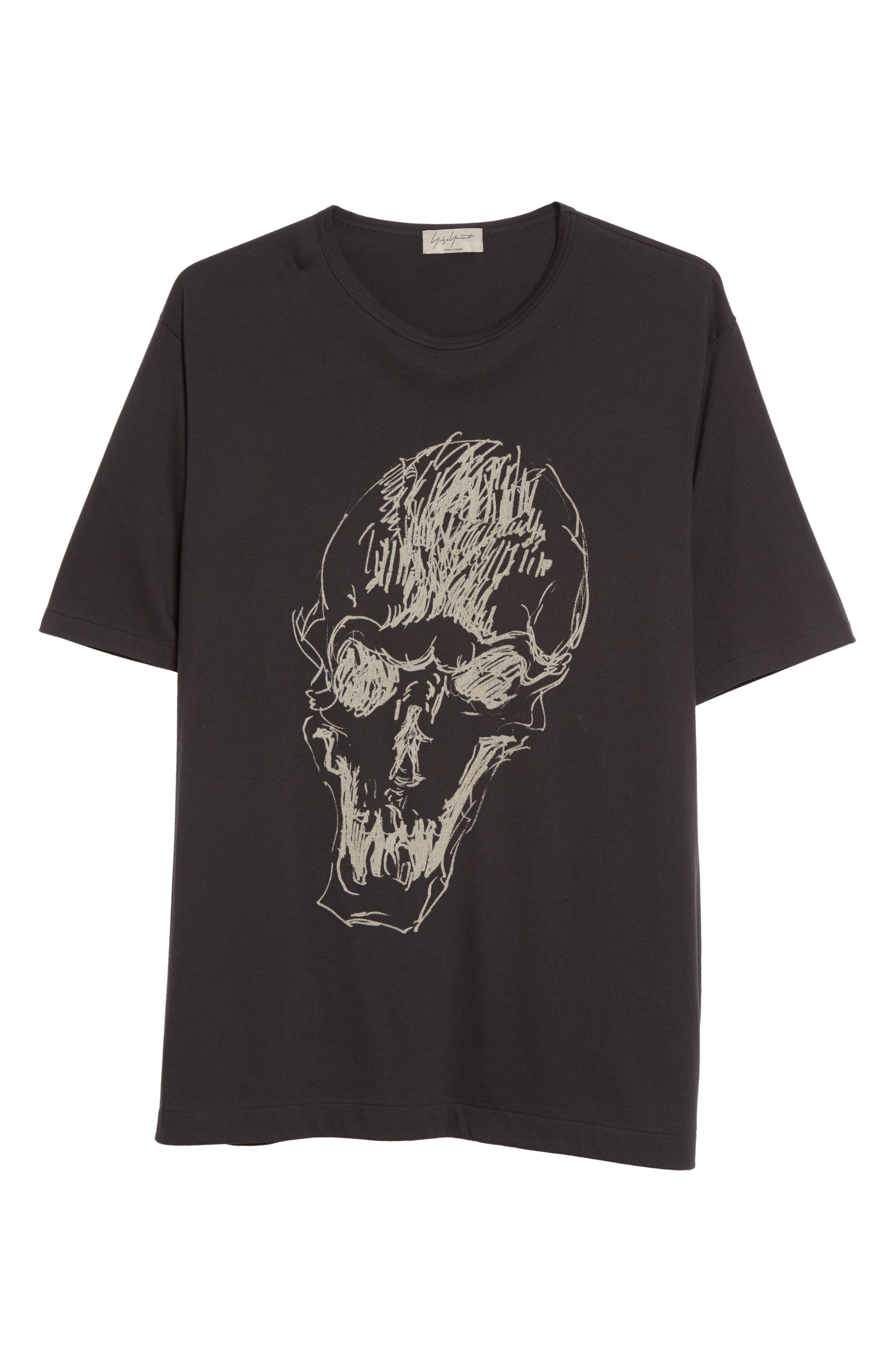 Oversize Skull Graphic T-Shirt,                             Alternate thumbnail 6, color,                             Black