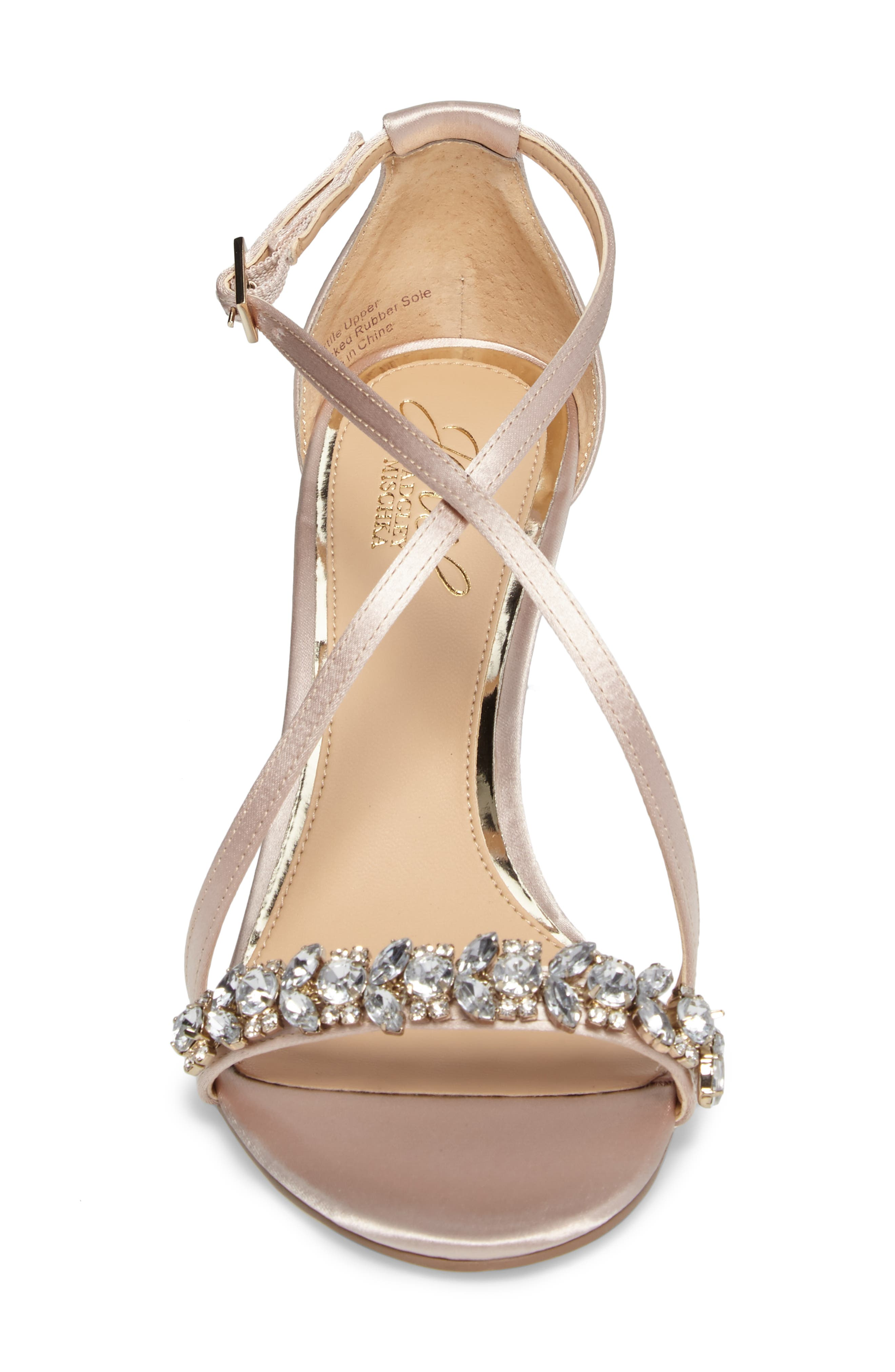 Embellished Strappy Wedge Sandal,                             Alternate thumbnail 4, color,                             Champagne Satin