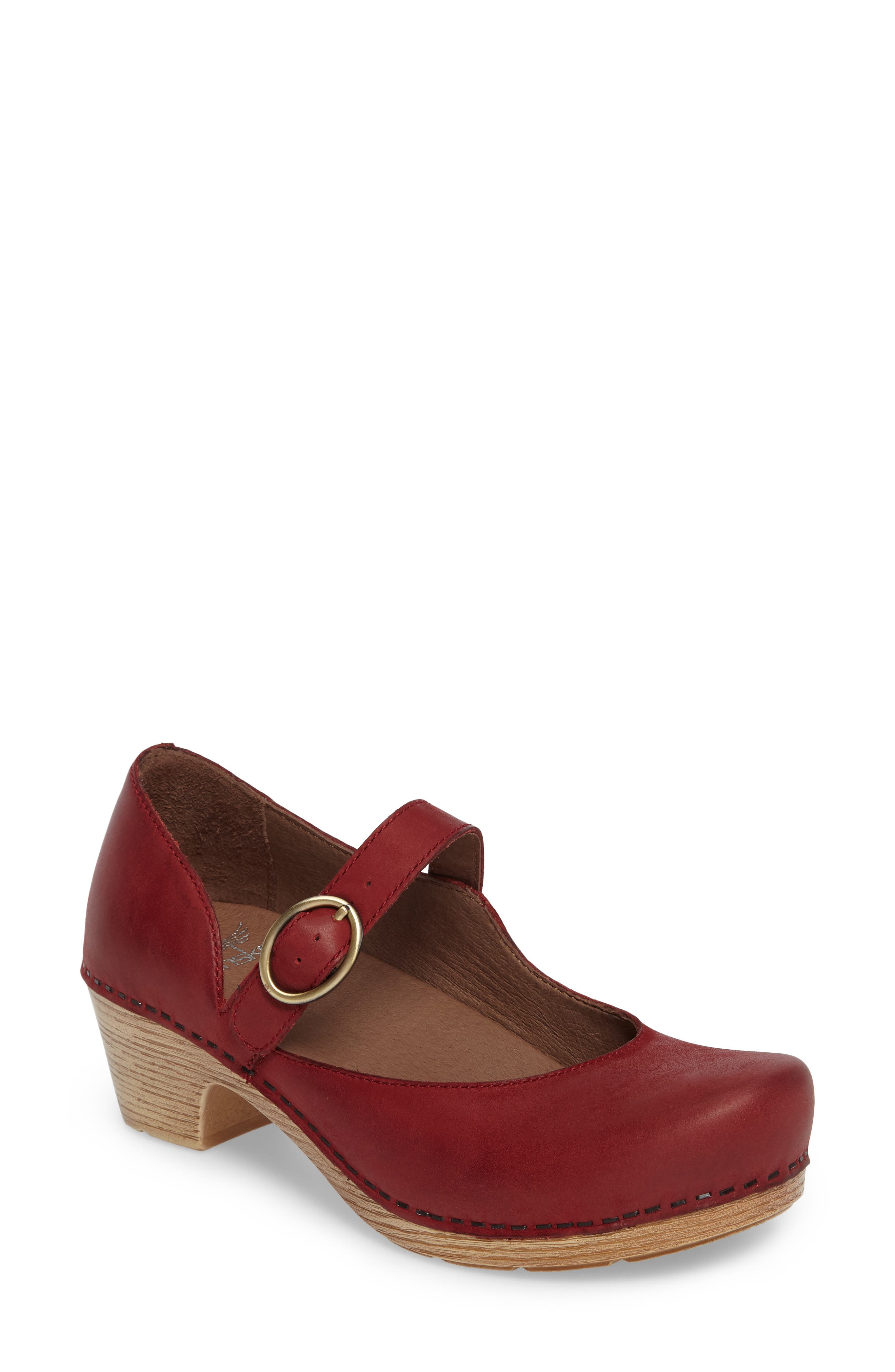 Missy Mary Jane Pump,                         Main,                         color, Red Leather