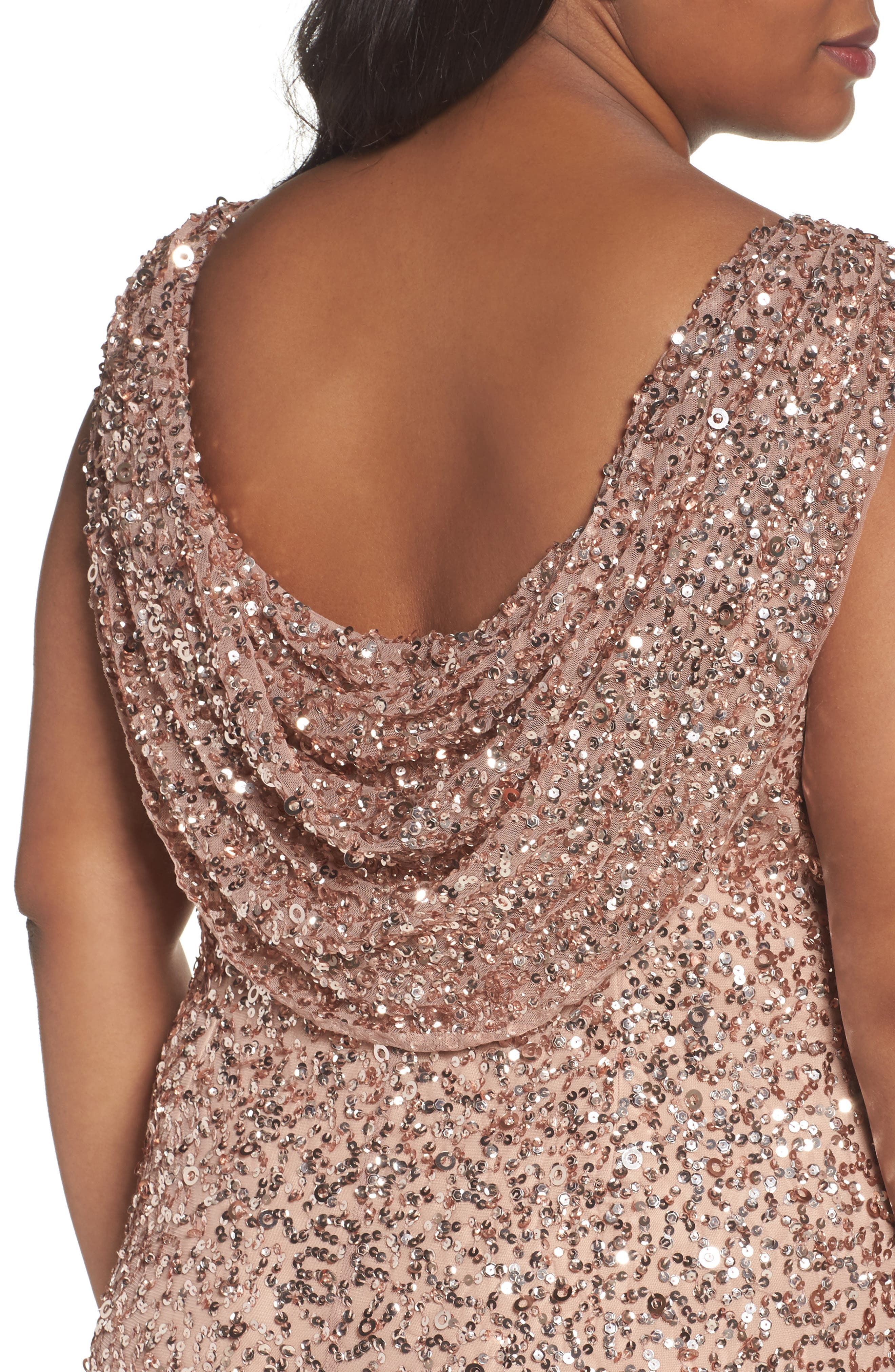 Sequin Cowl Back Gown,                             Alternate thumbnail 4, color,                             Rose Gold