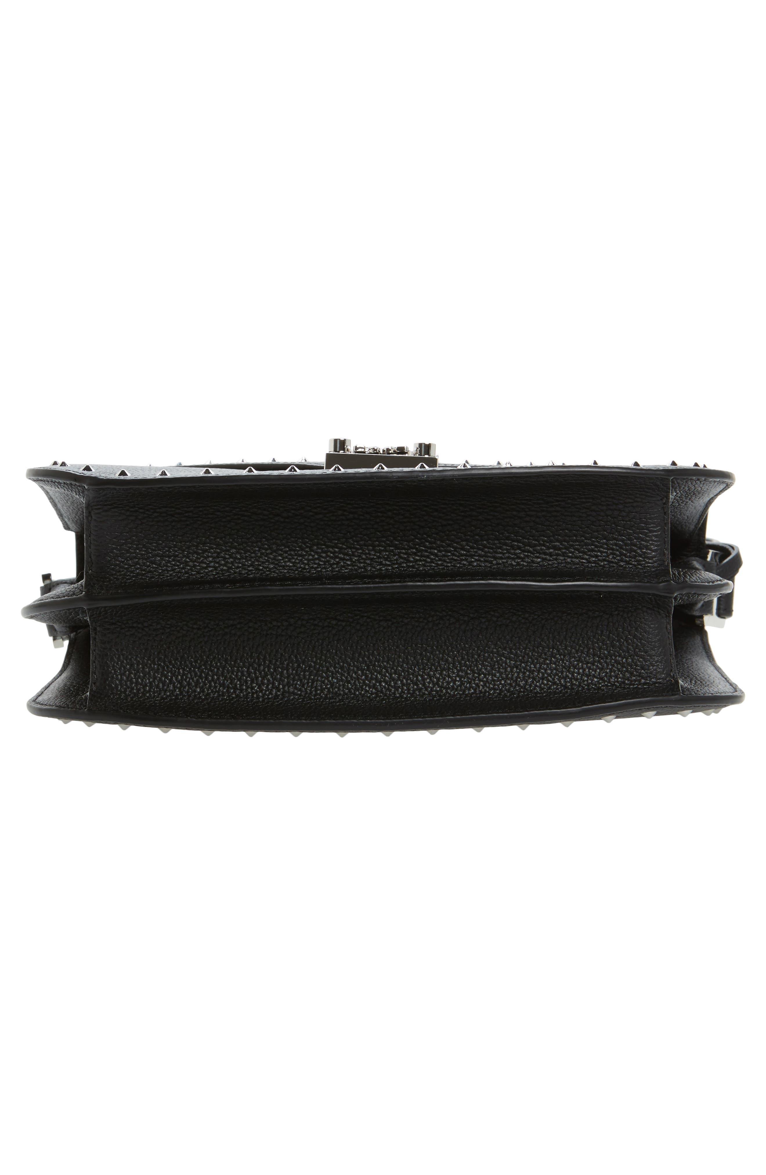 Patricia Studded Outline Leather Shoulder Bag,                             Alternate thumbnail 5, color,                             Black