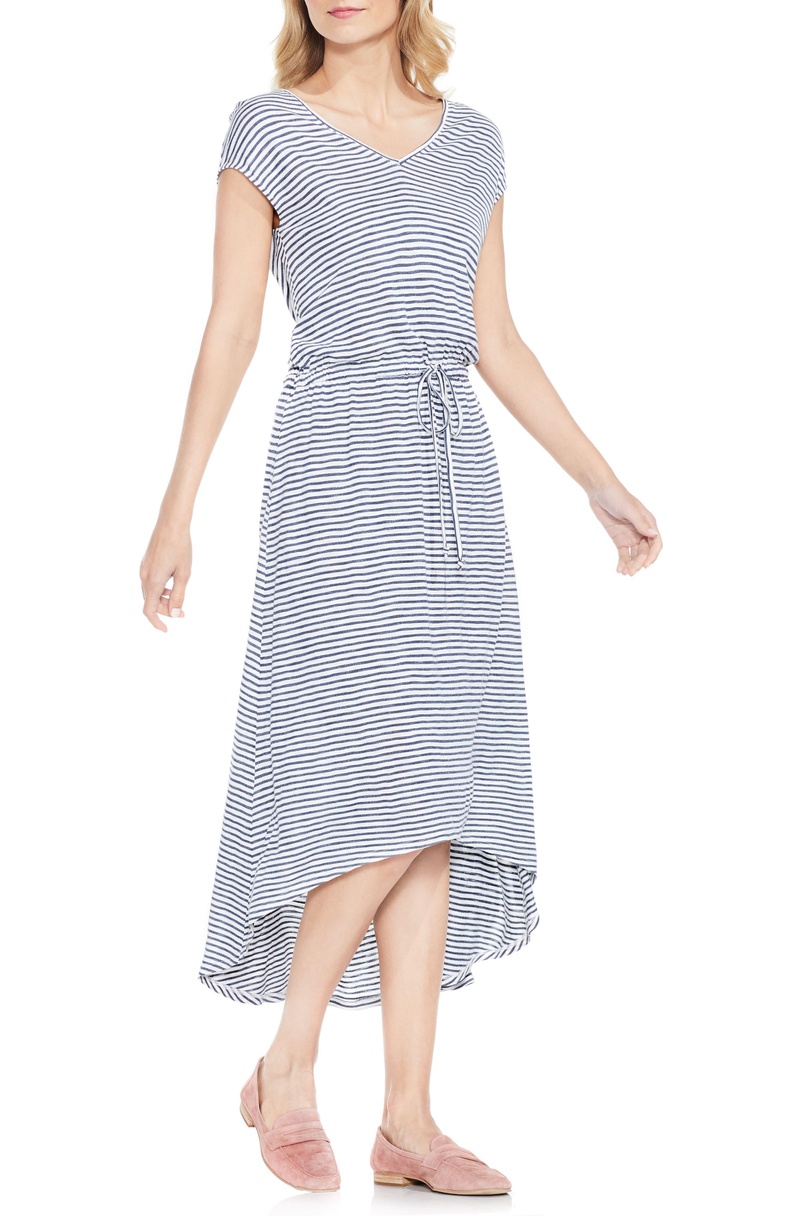 Two by Vince Camuto Charter Stripe V-Neck Jersey Dress
