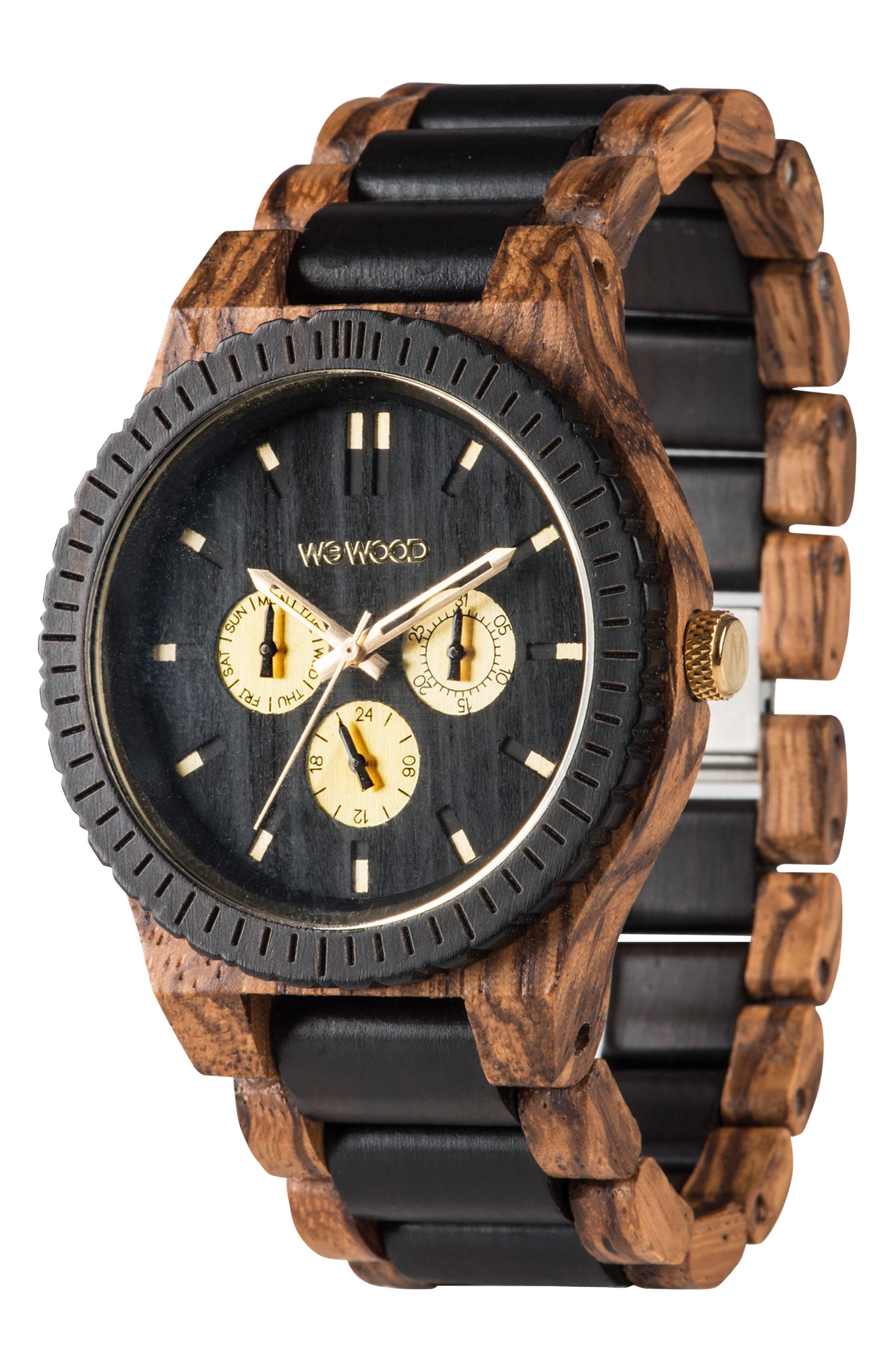 Alternate Image 3  - WeWOOD Kappa Multifunctional Wood Bracelet Watch, 46mm