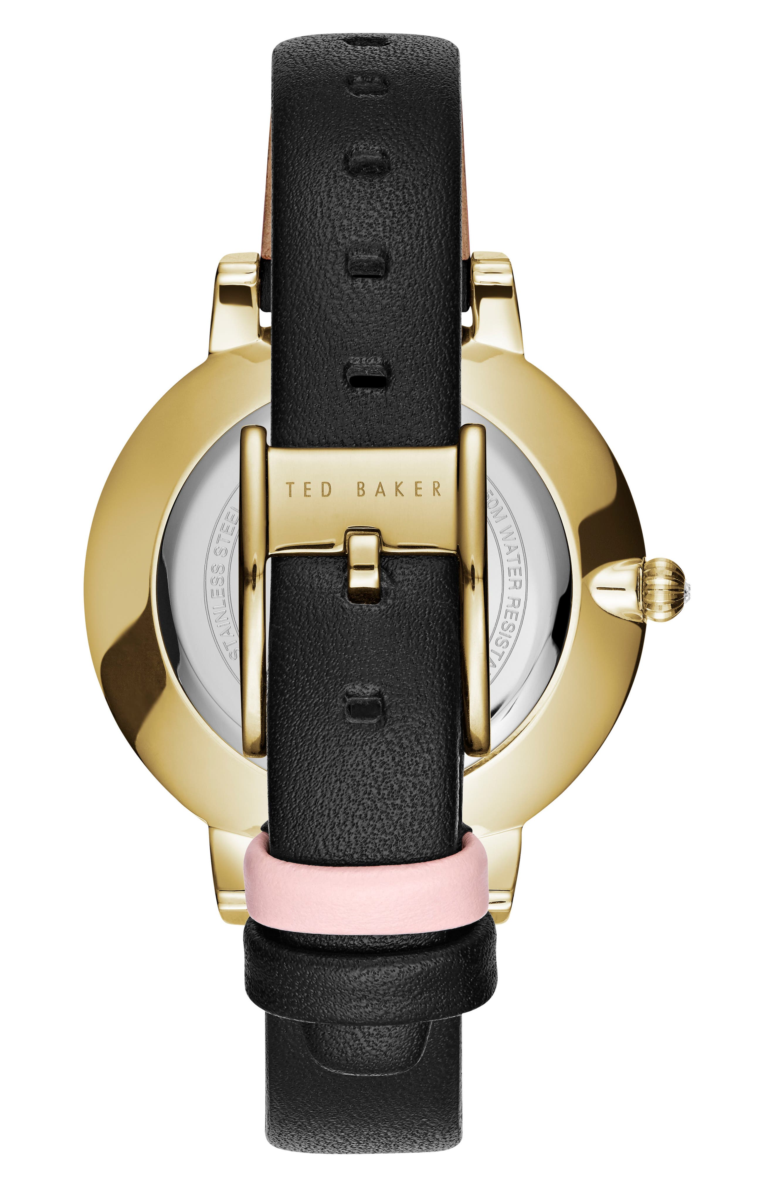 Kate Leather Strap watch, 38mm,                             Alternate thumbnail 2, color,                             Black/ Mother Of Pearl/ Gold