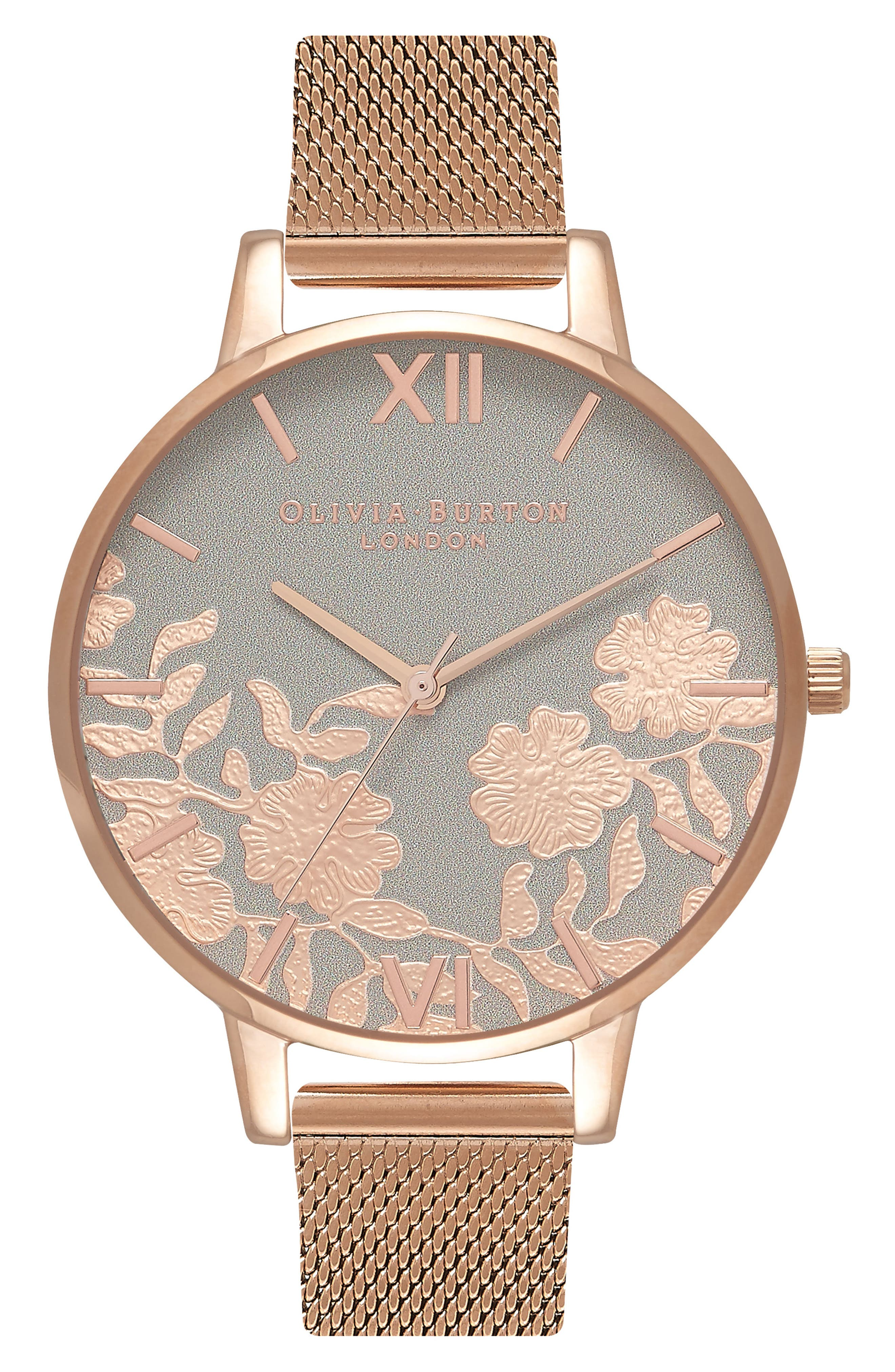 Lace Detail Mesh Strap Watch, 38mm,                             Main thumbnail 1, color,                             Rose Gold/ Grey/ Rose Gold