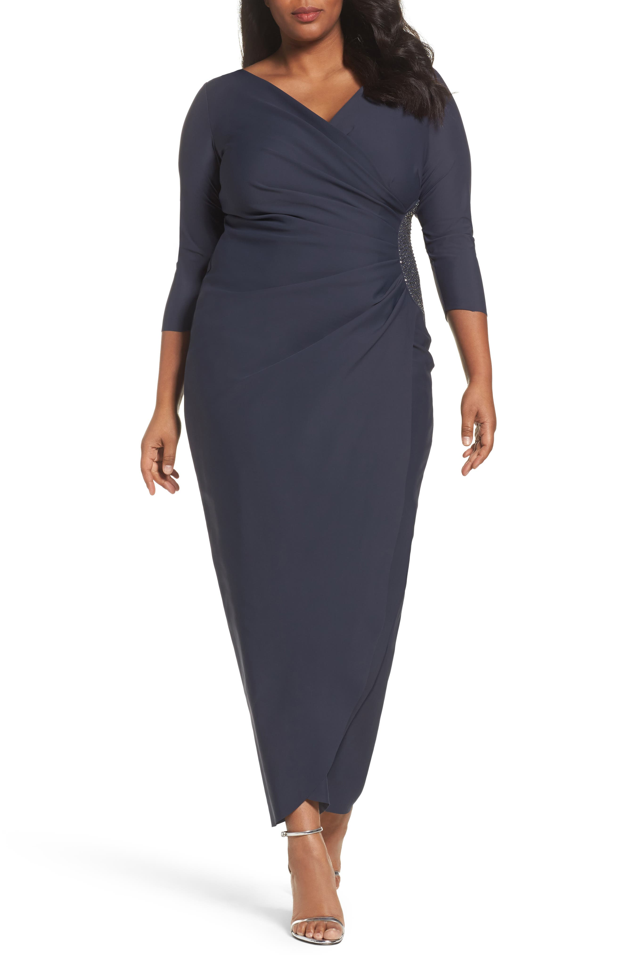 Main Image - Alex Evenings Embellished Side Ruched Jersey Gown (Plus Size)