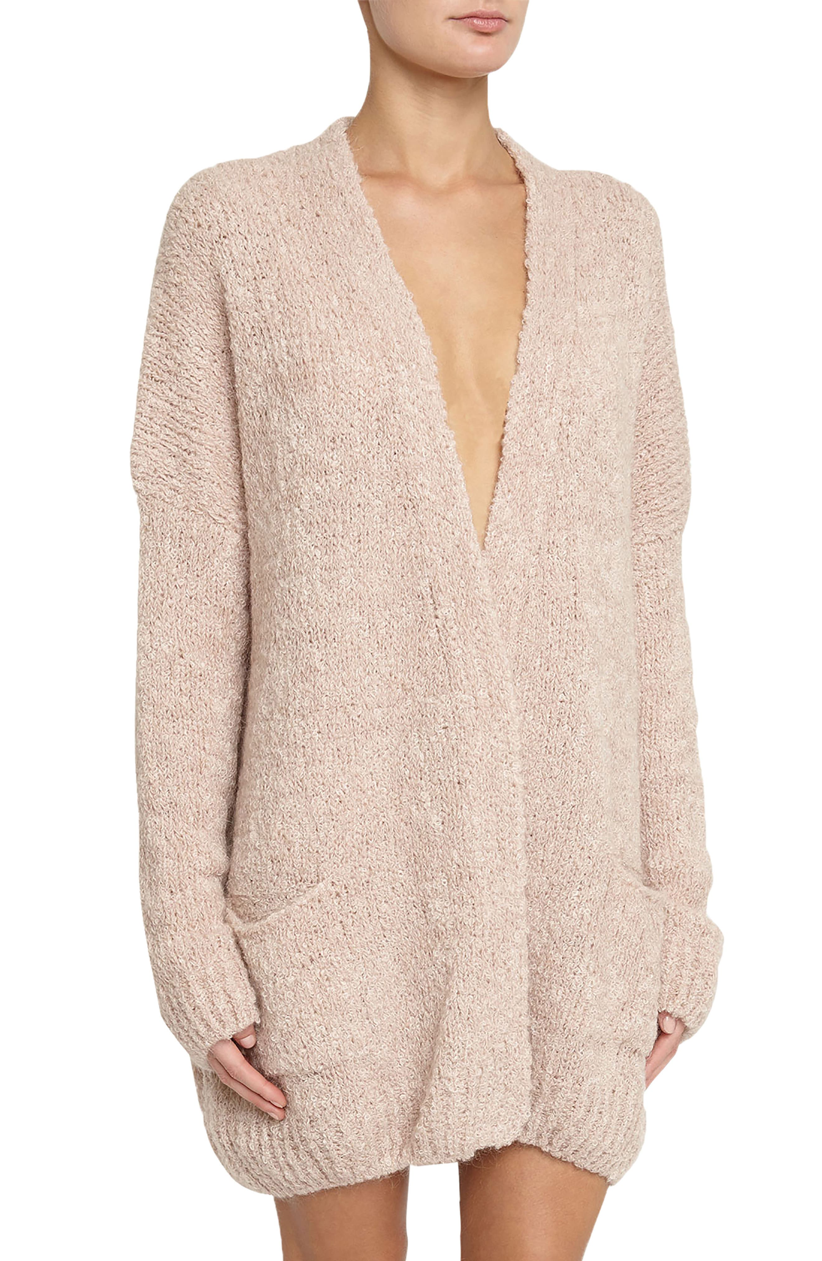 Lana Oversize Cardigan,                             Alternate thumbnail 4, color,                             Cameo Pink