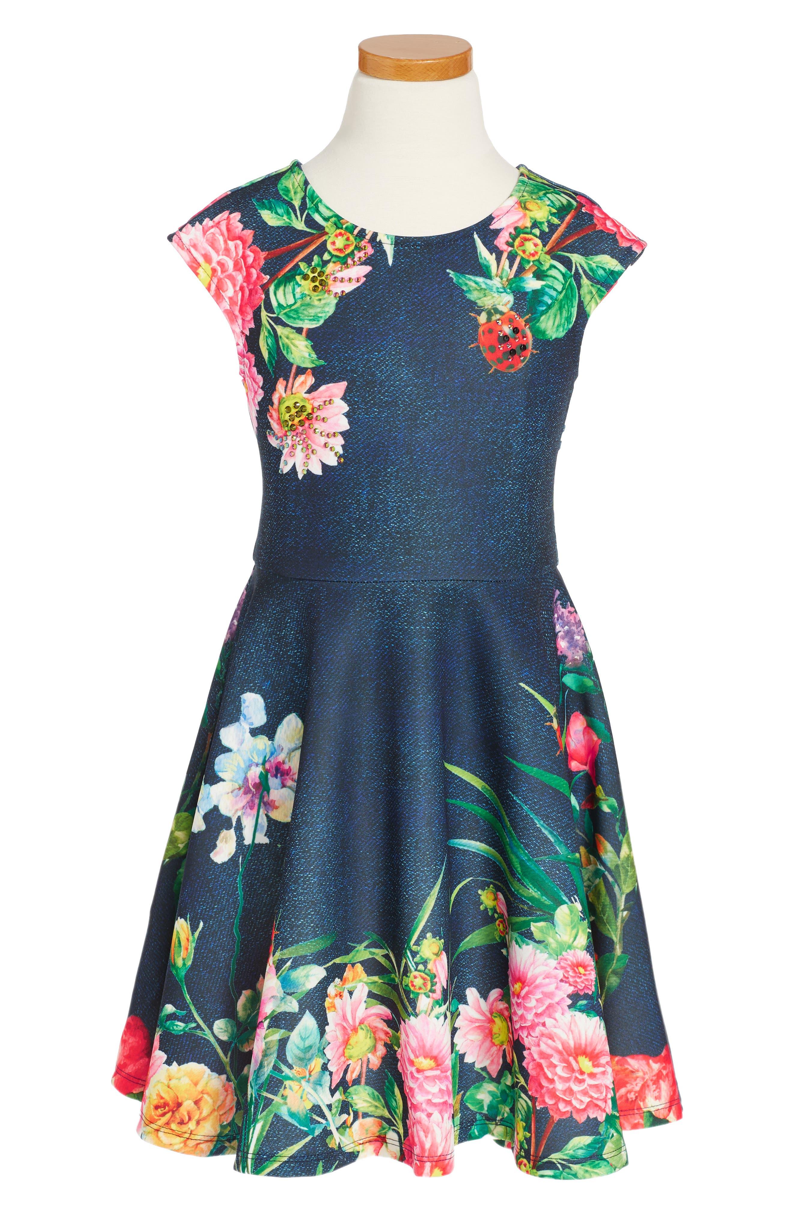 Alternate Image 1 Selected - Hannah Banana Lady Bug Skater Dress (Toddler Girls, Little Girls & Big Girls)
