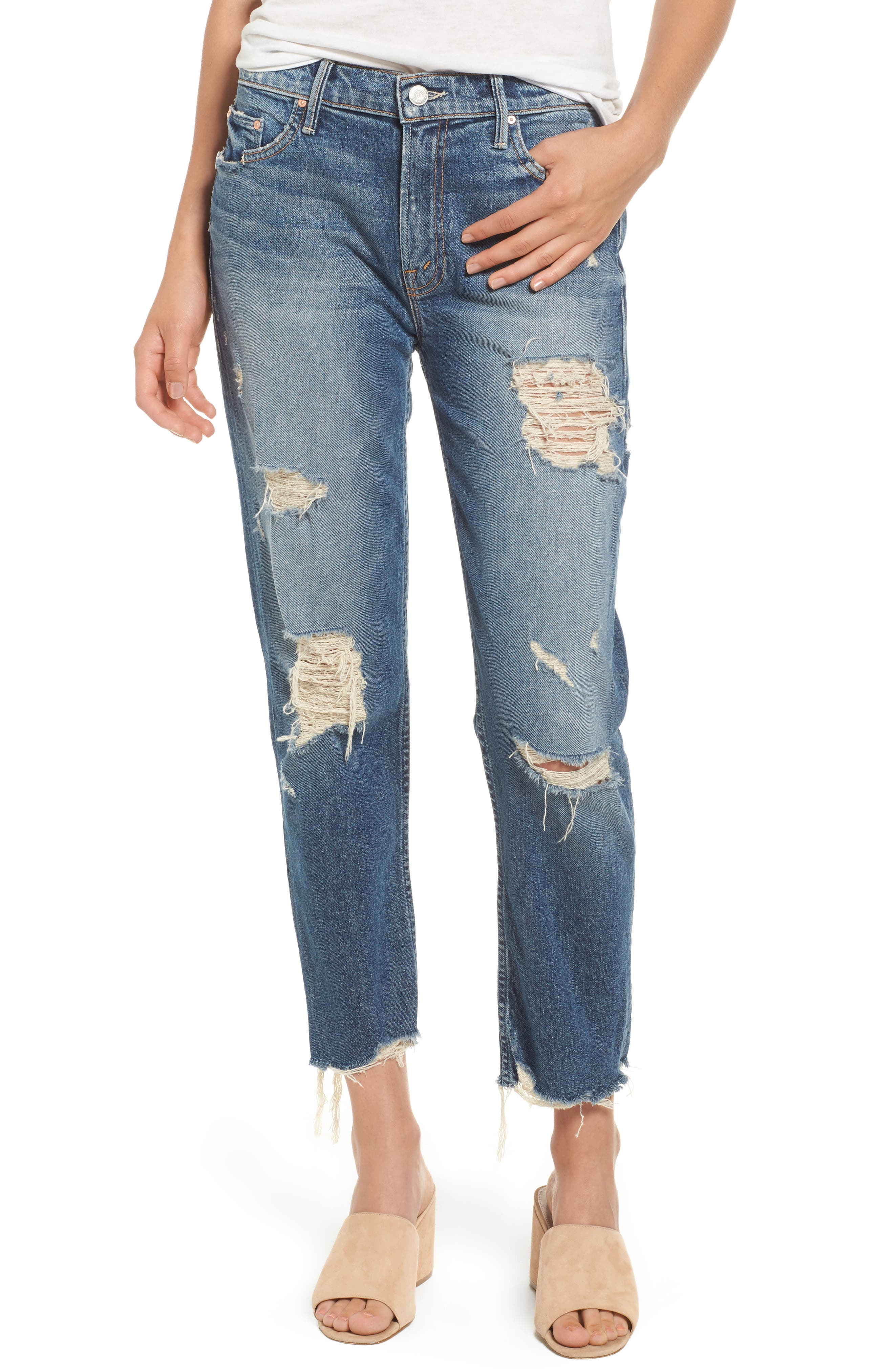 Alternate Image 1 Selected - MOTHER The Sinner Ripped Ankle Straight Leg Jeans (Ice Scream You Scream)