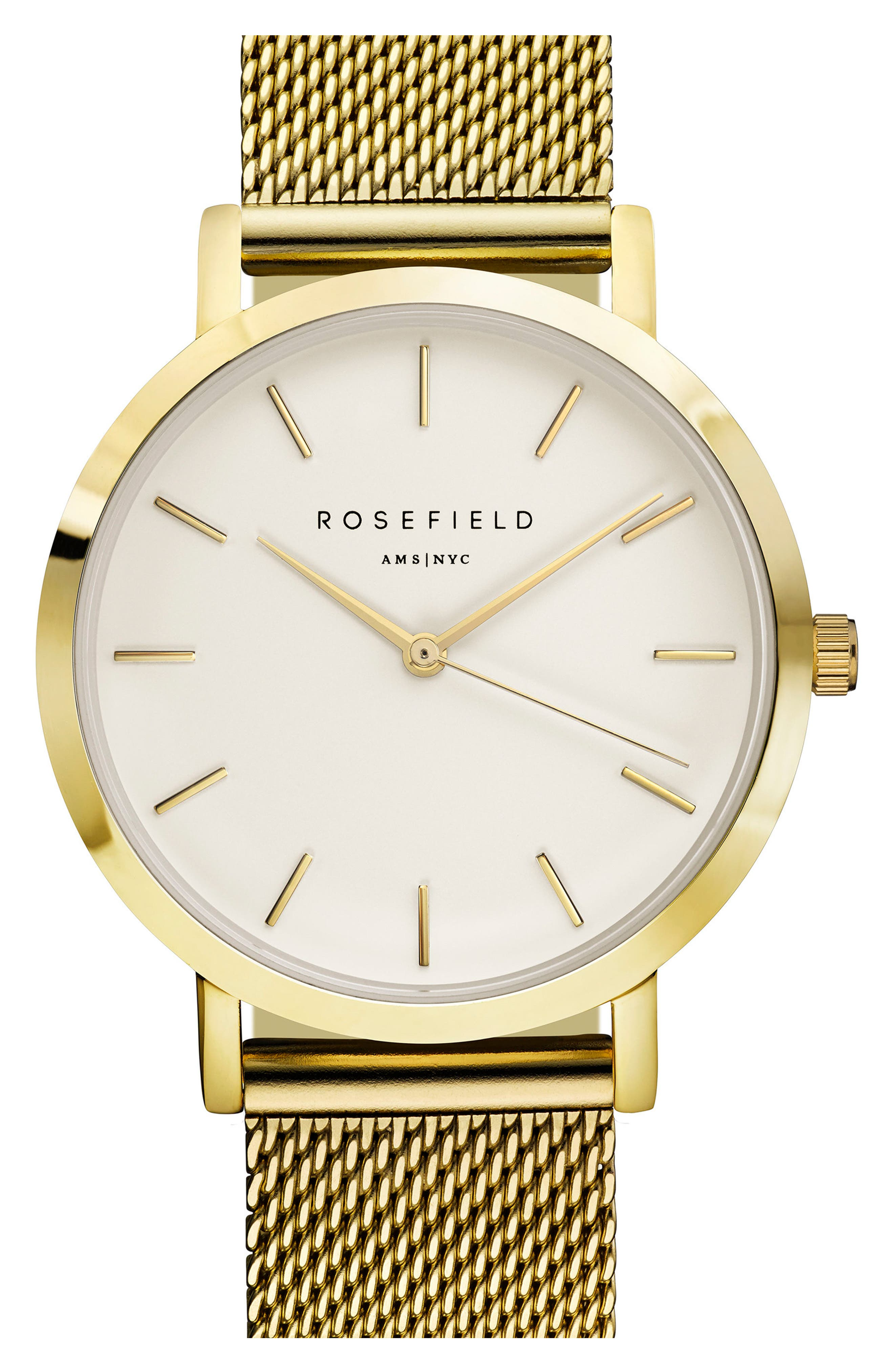 Main Image - Rosefield Tribeca Mesh Strap Watch, 33mm