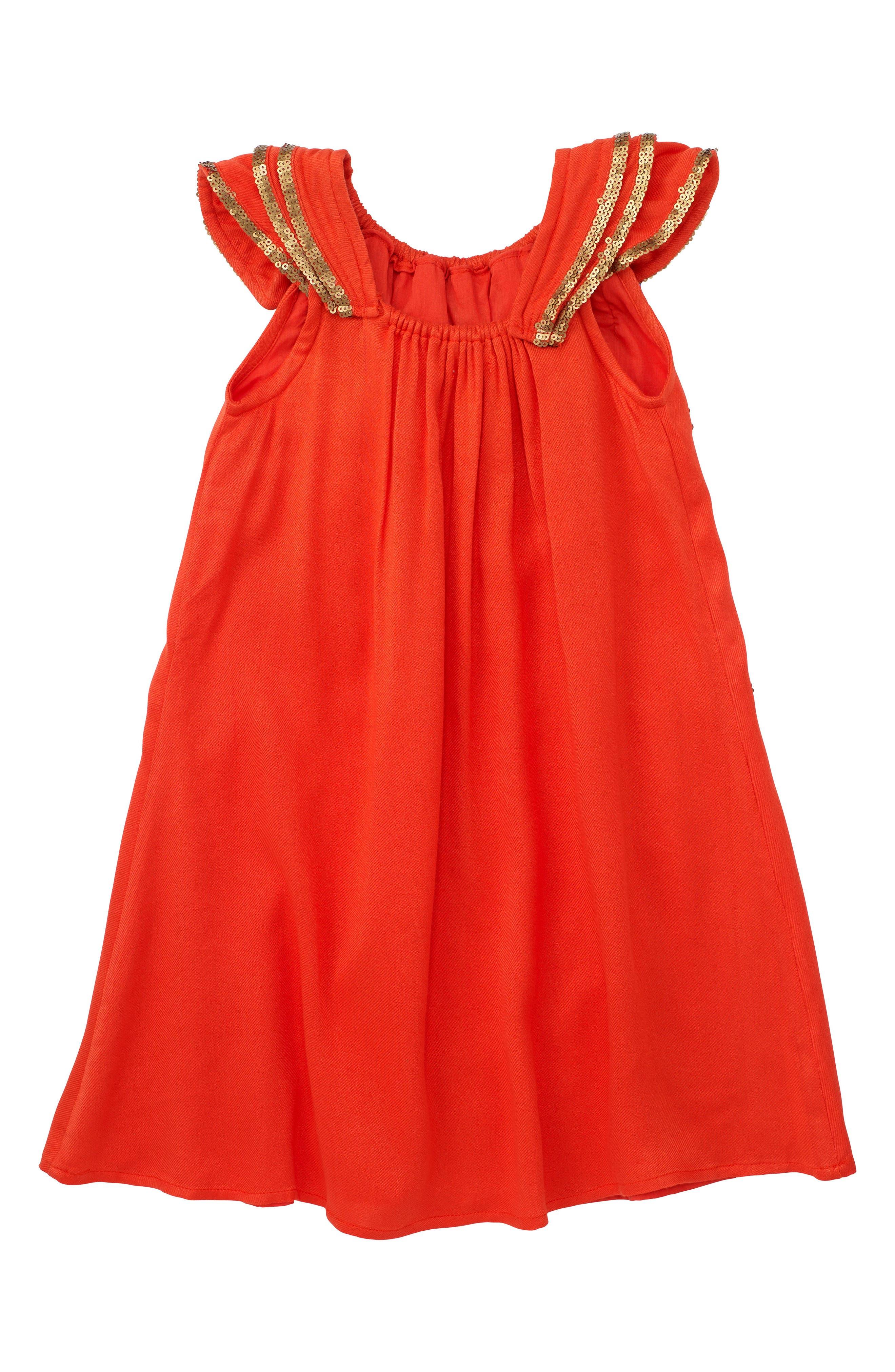 Dahlia Flutter Sleeve Dress,                             Alternate thumbnail 4, color,                             Coral
