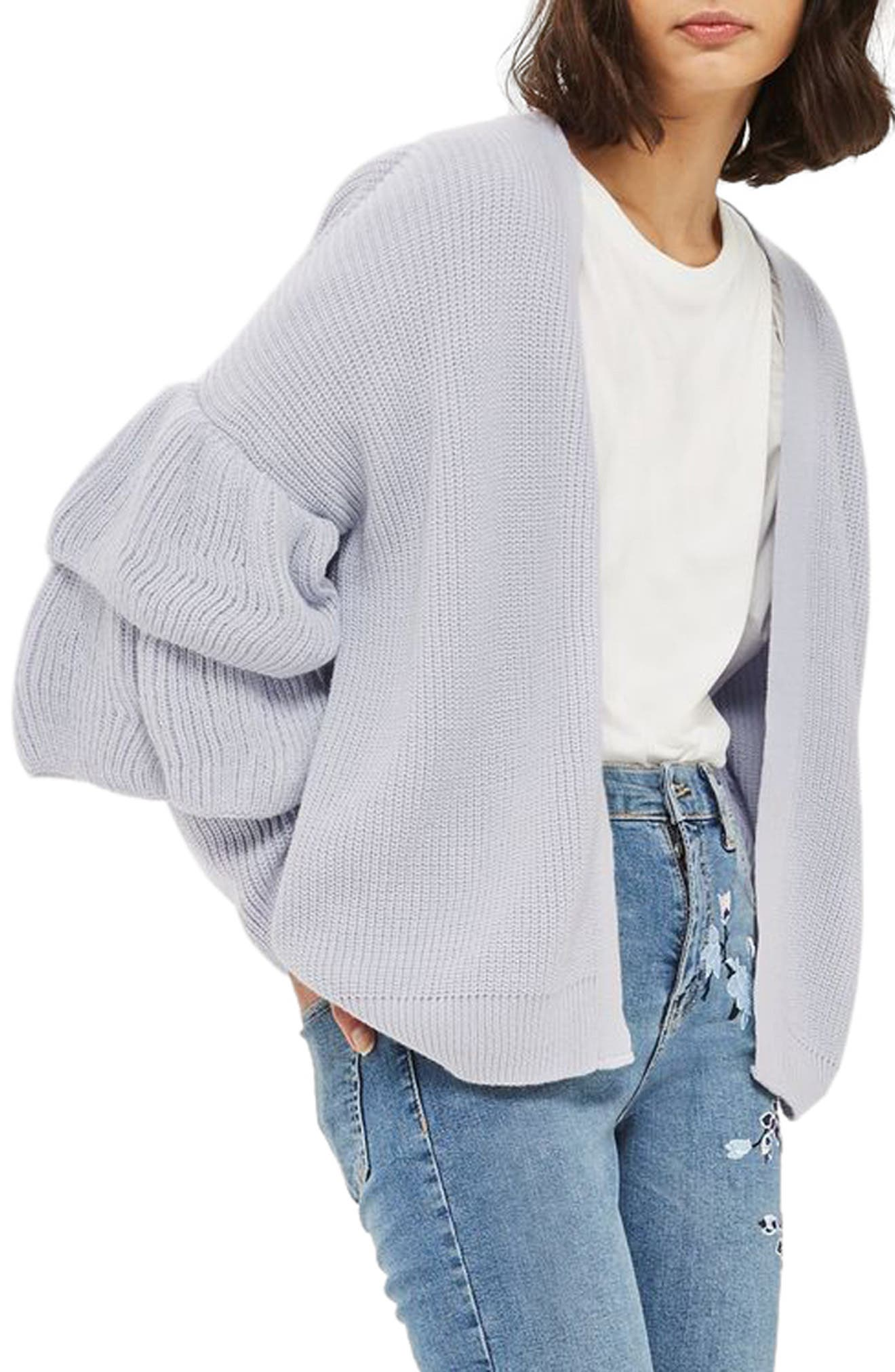 Layered Ruffle Sleeve Cardigan,                             Main thumbnail 1, color,                             Lilac