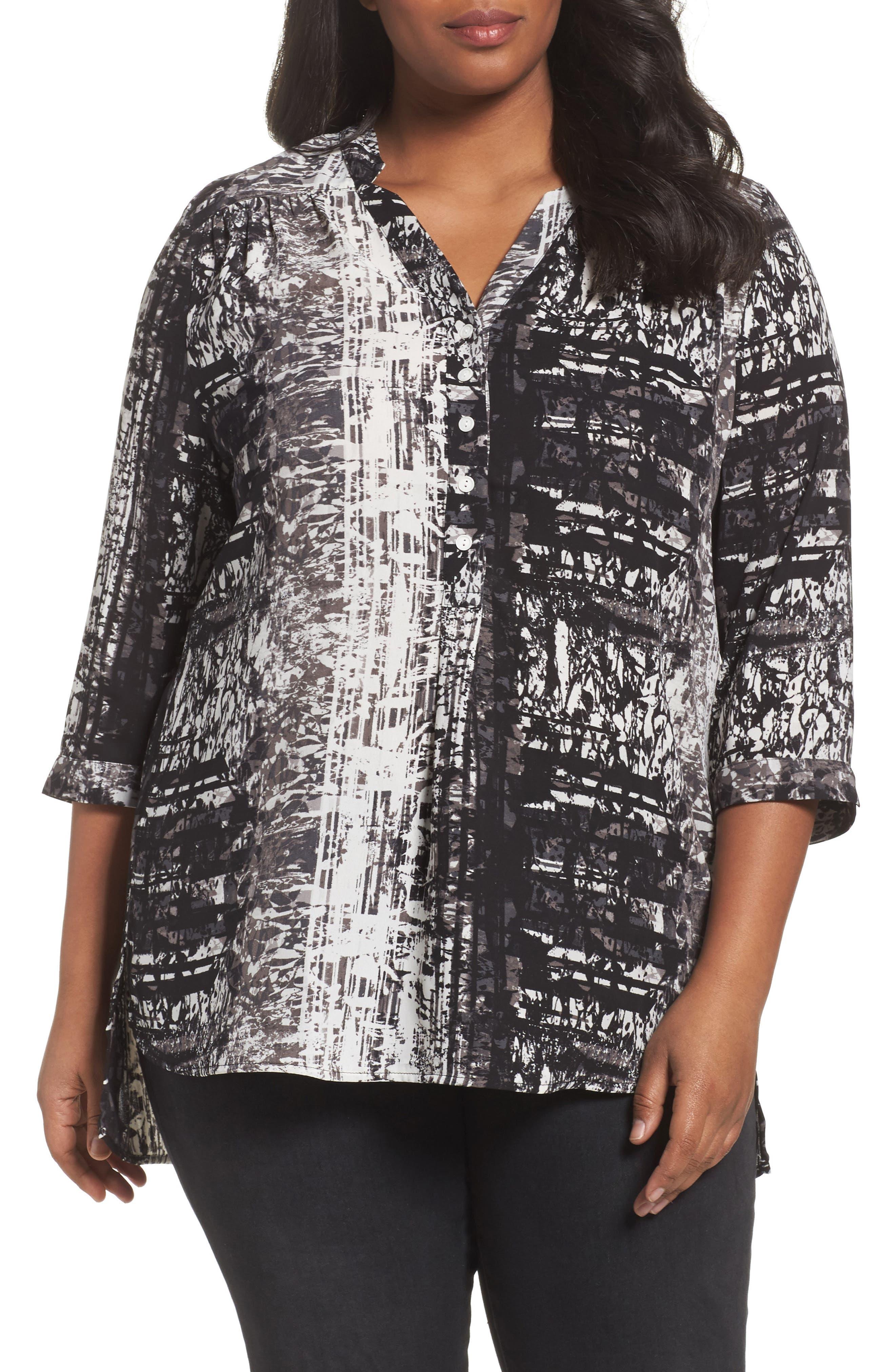 Notch Collar Henley Tunic,                         Main,                         color, Ivory- Black Brushstroke Print
