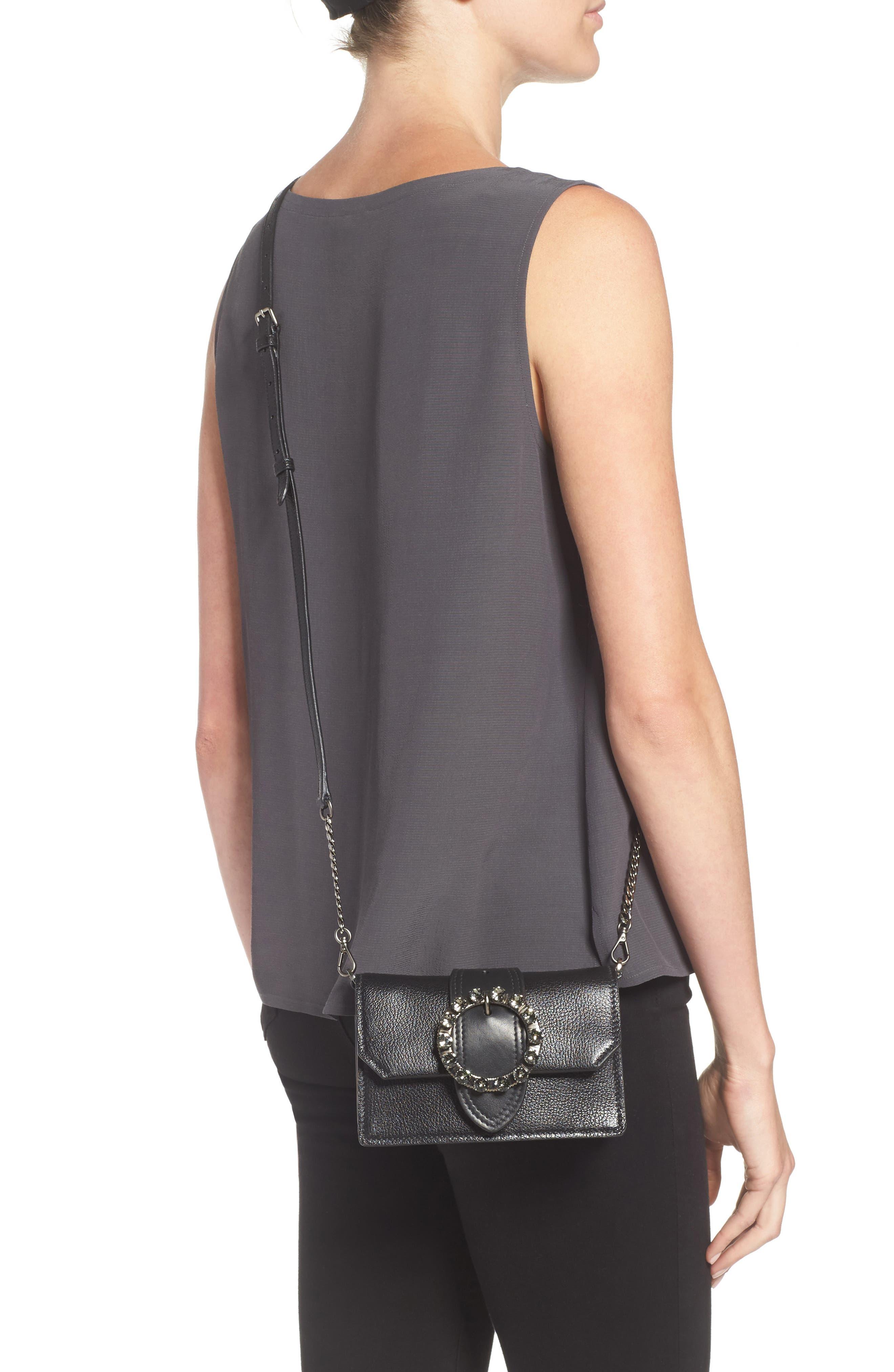 Lady Madras Crystal Embellished Leather Crossbody Bag,                             Alternate thumbnail 2, color,                             Nero 1