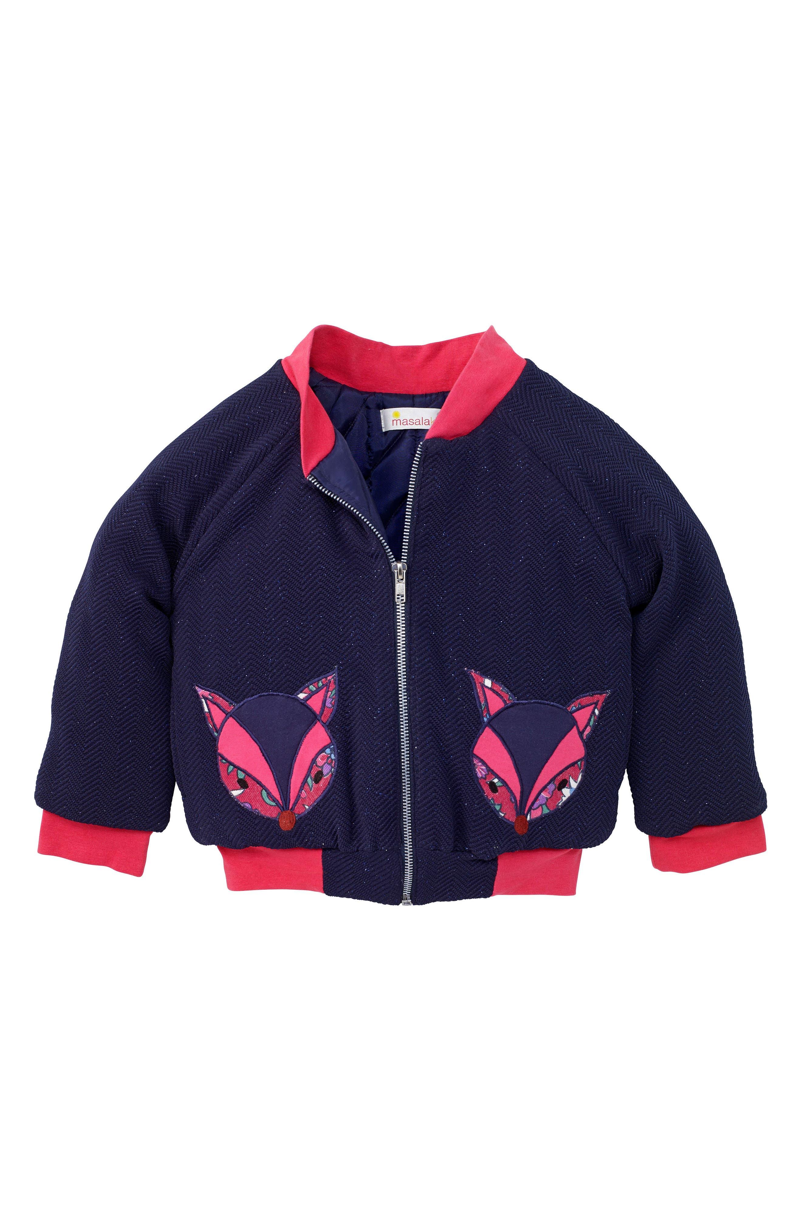 Main Image - Masasla Baby Foxy Bomber Jacket (Toddler Girls, Little Girls & Big Girls)