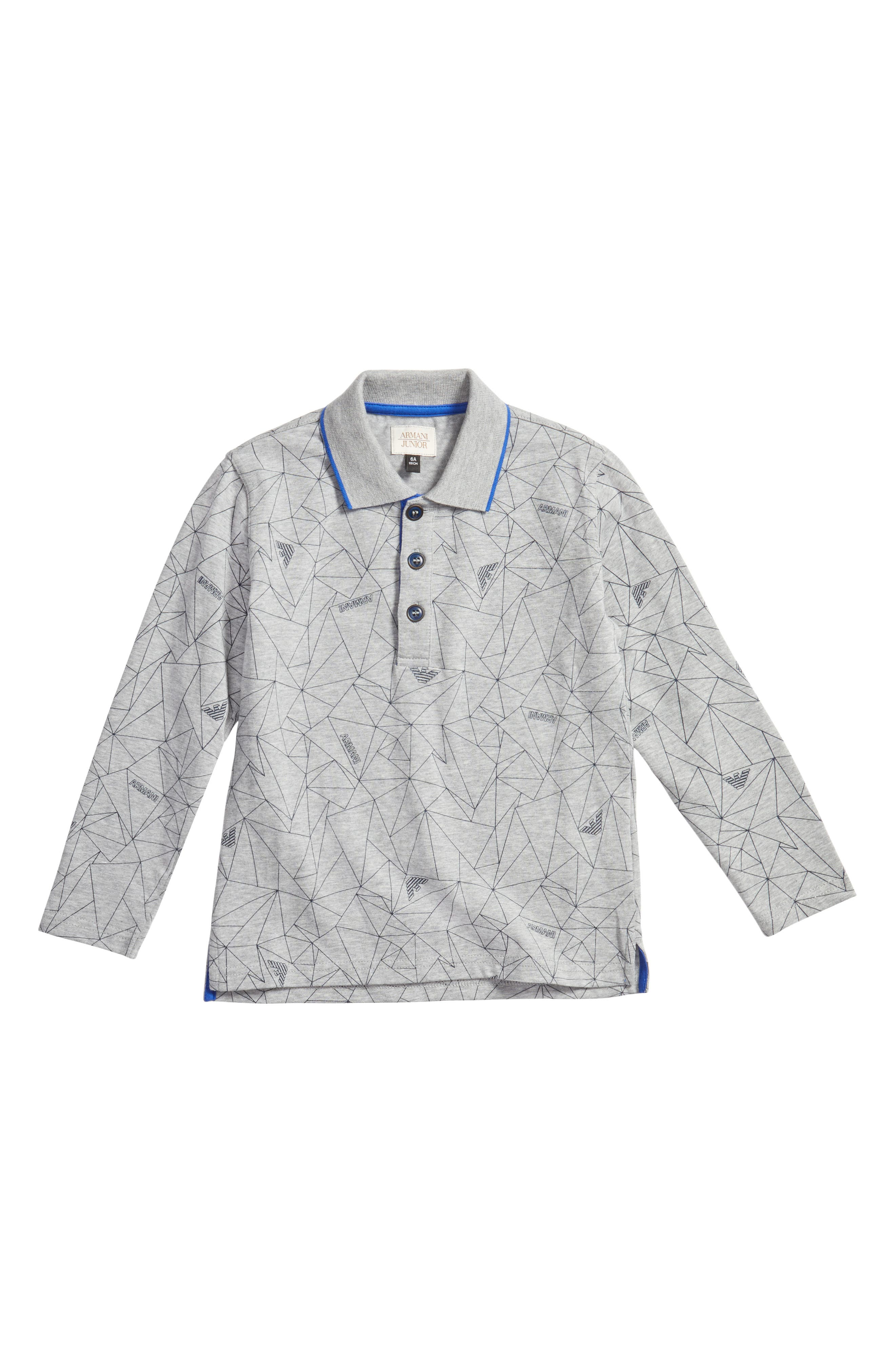 Armani Junior Geo Print Long Sleeve Polo (Little Boys & Big Boys)