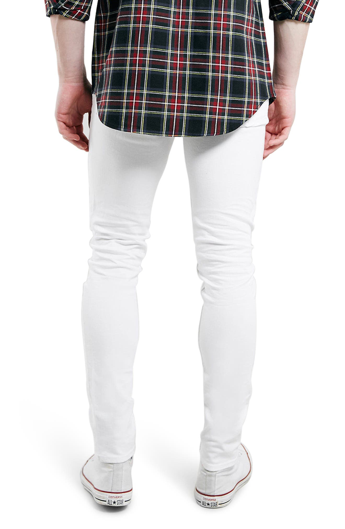 Stretch Skinny Fit Jeans,                             Alternate thumbnail 3, color,                             White