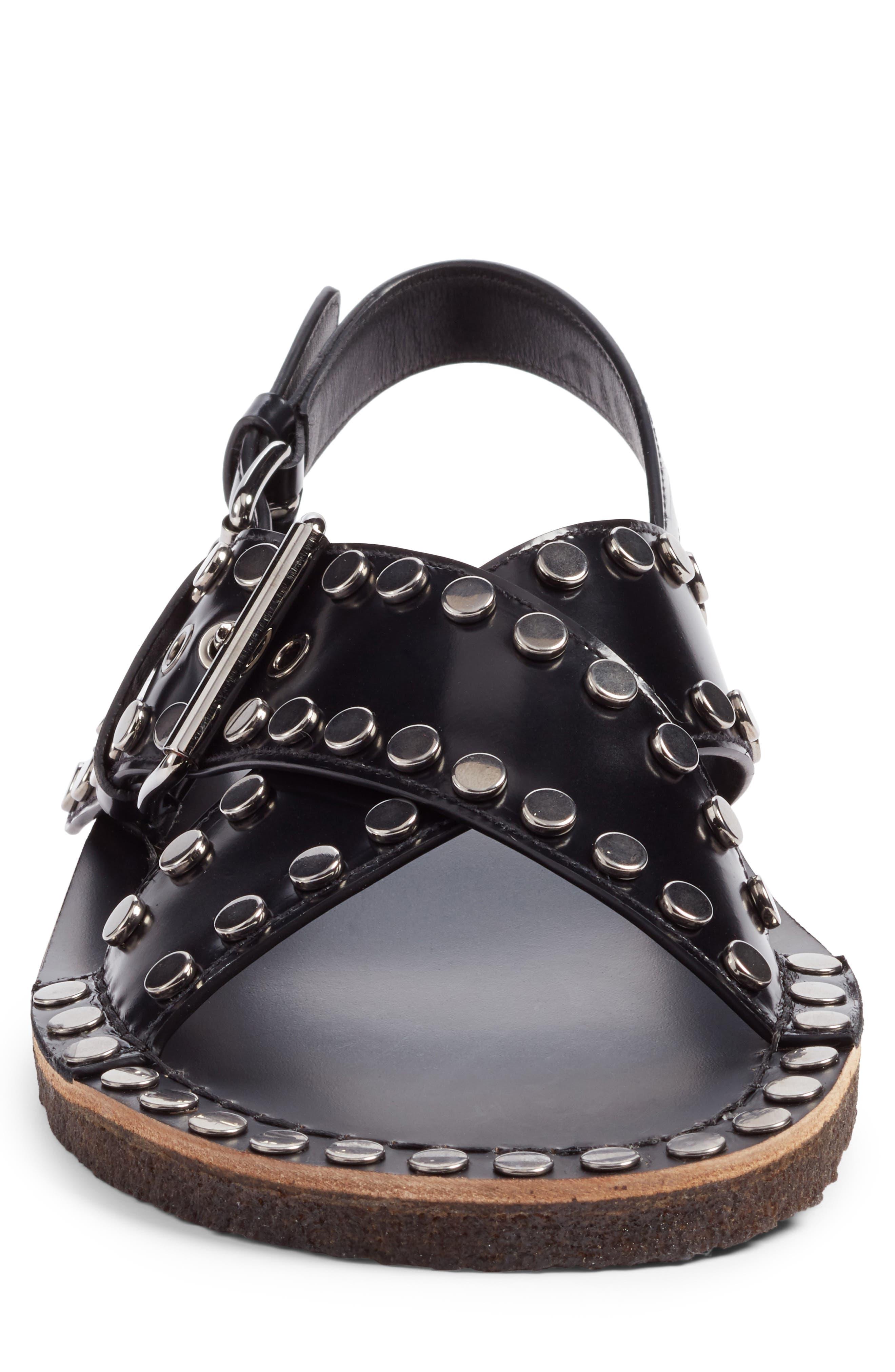 Crisscross Sandal,                             Alternate thumbnail 4, color,                             Nero Leather