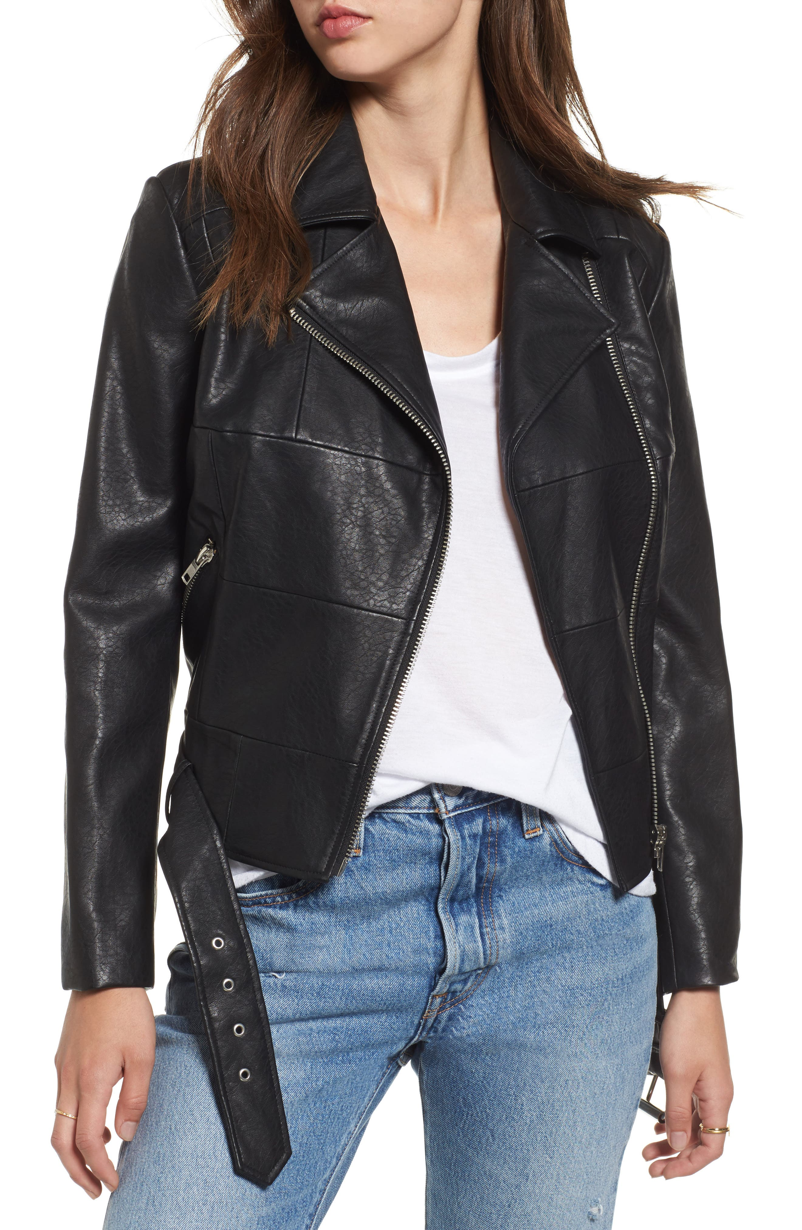 BB Dakota Maria Washed Faux Leather Patchwork Jacket