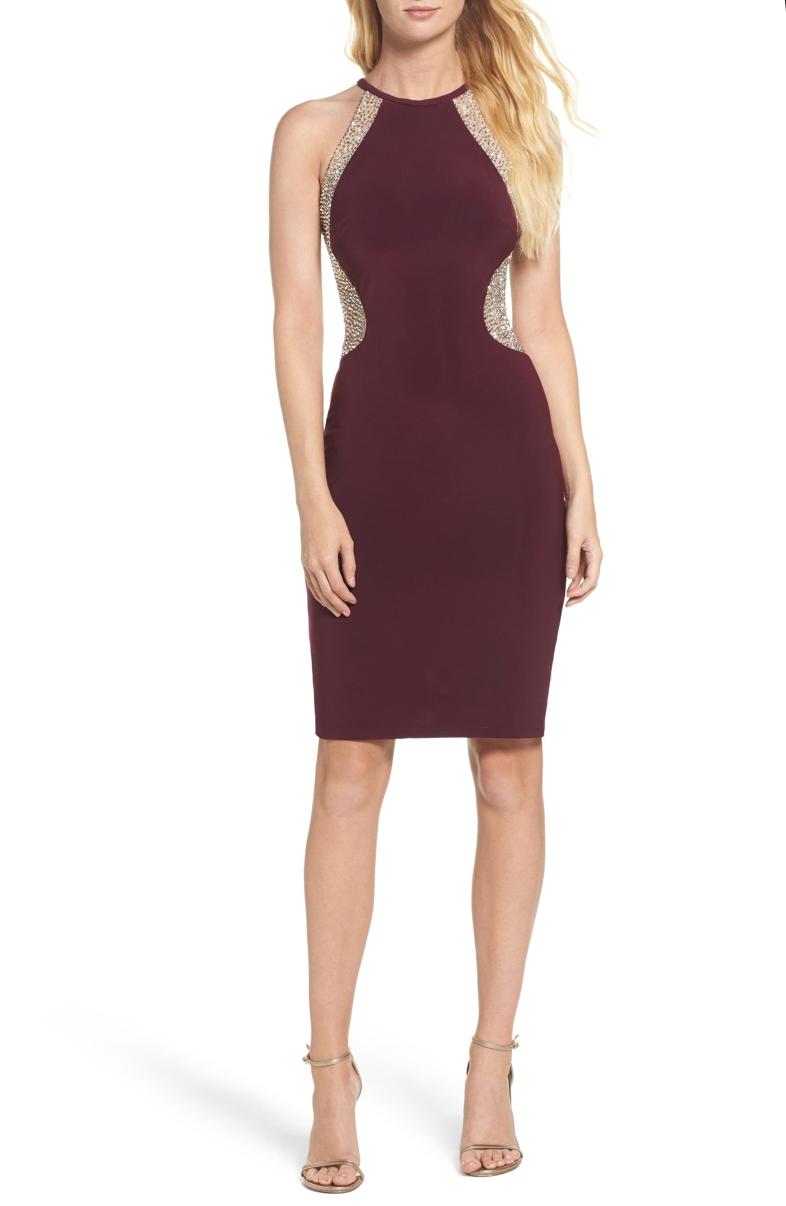 Xscape Beaded Mesh & Jersey Sheath Dress