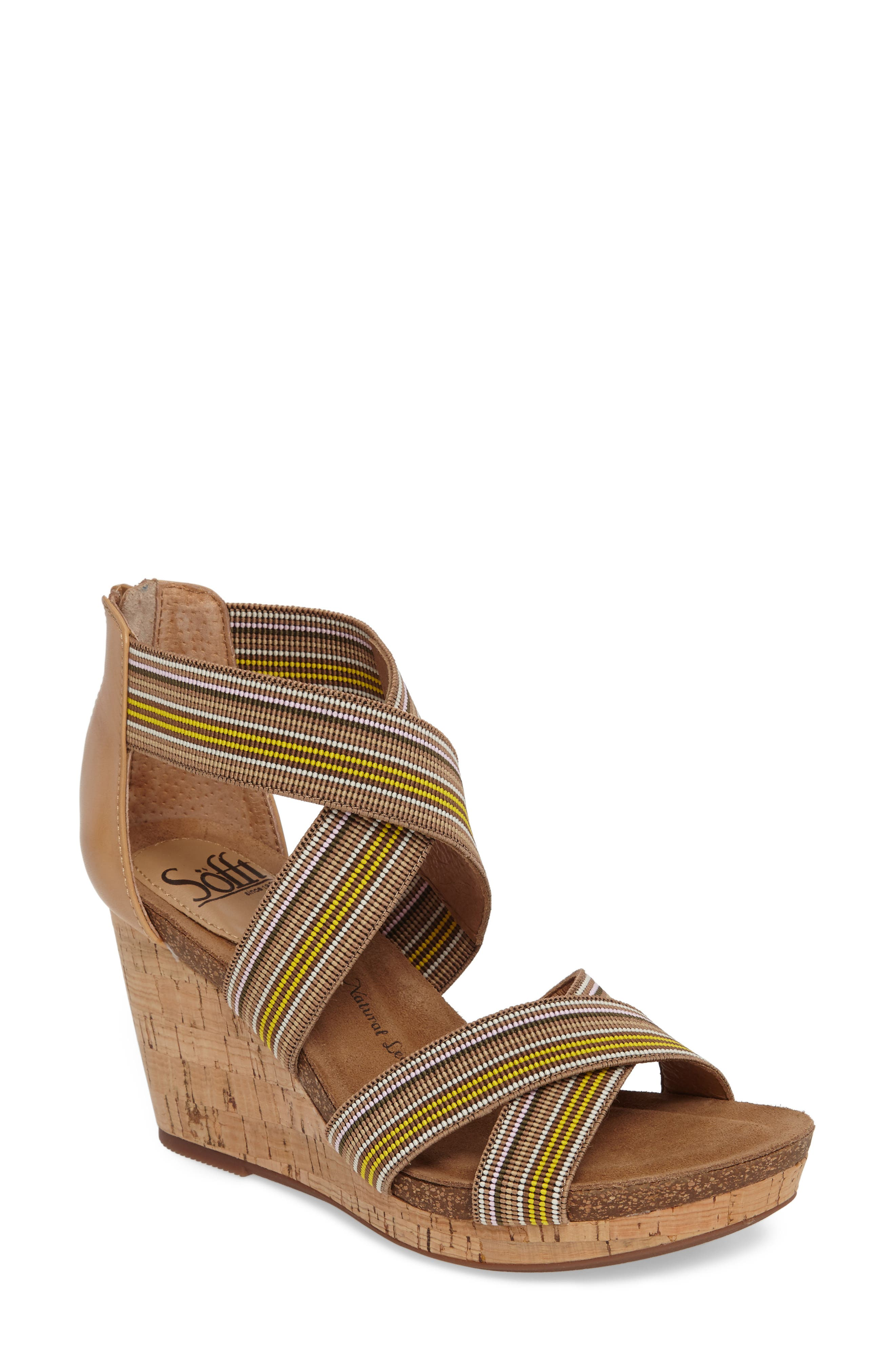 Main Image - Söfft Cary Cross Strap Wedge Sandal (Women)
