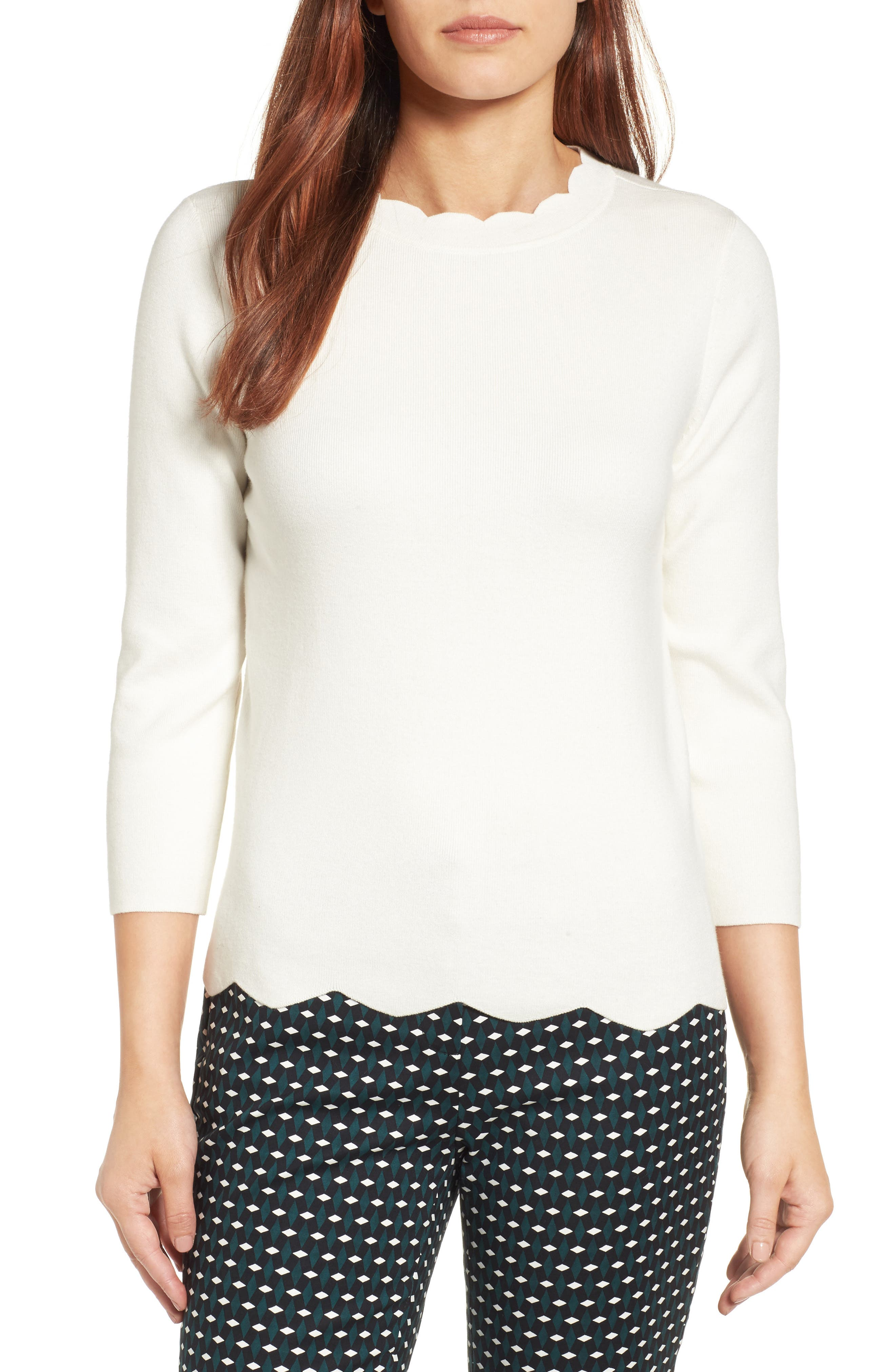 Halogen Scallop Edge Sweater (Regular & Petite)