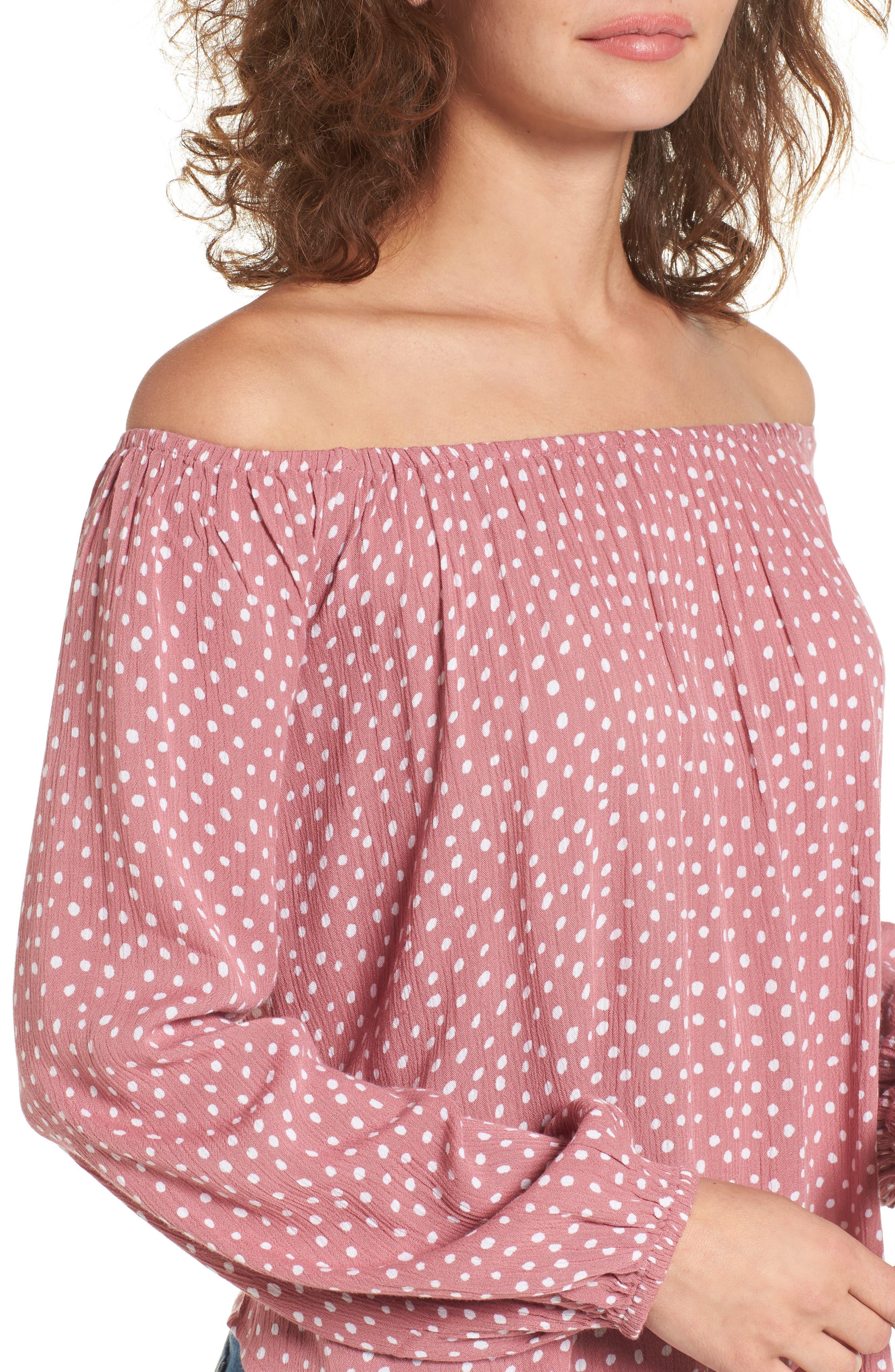 Alternate Image 4  - Billabong Mi Amore Off the Shoulder Blouse