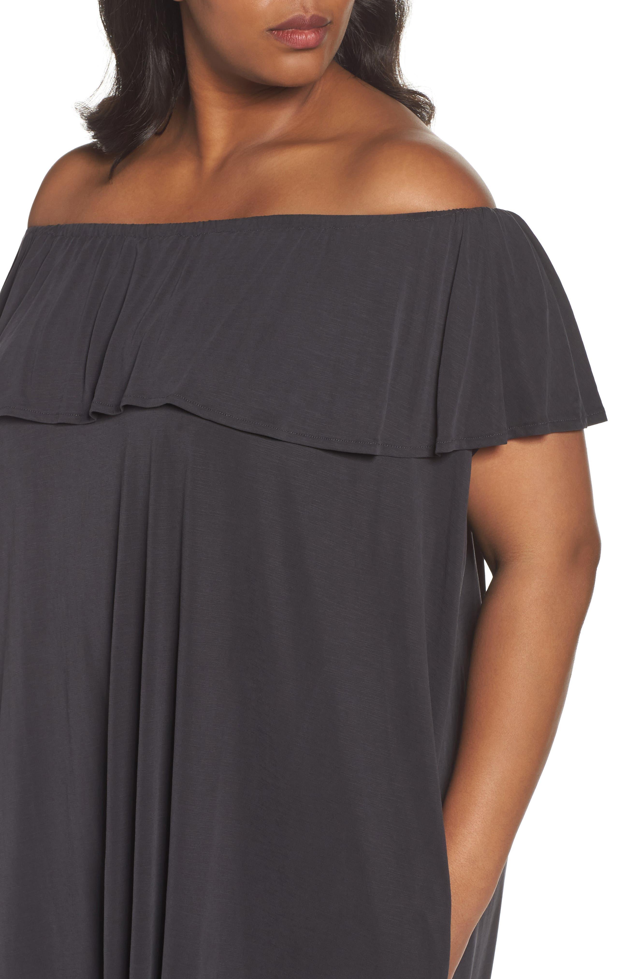 Boardwalk Convertible Jersey Dress,                             Alternate thumbnail 4, color,                             Washed Black