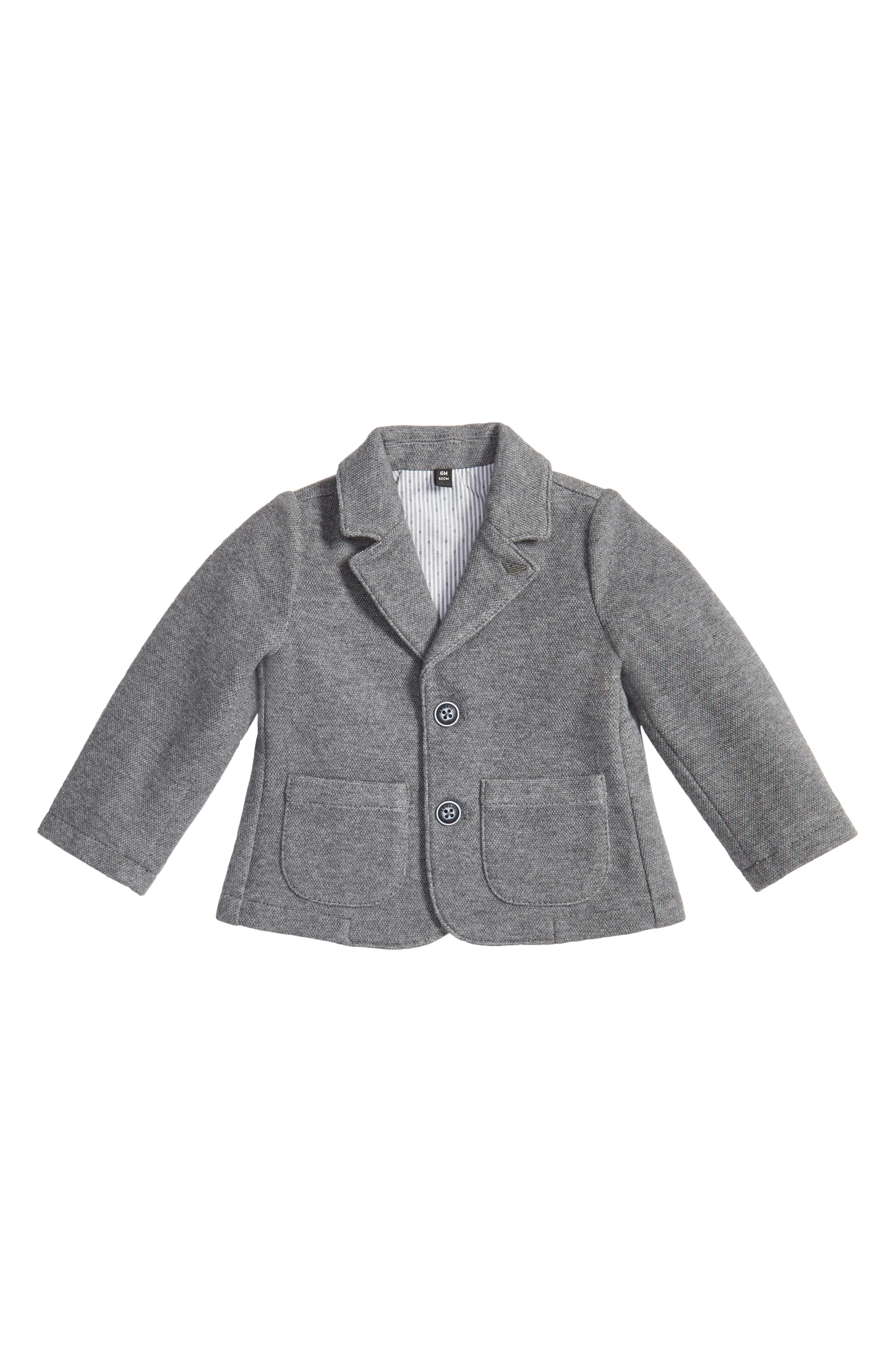 Piqué Knit Blazer,                         Main,                         color, Grey