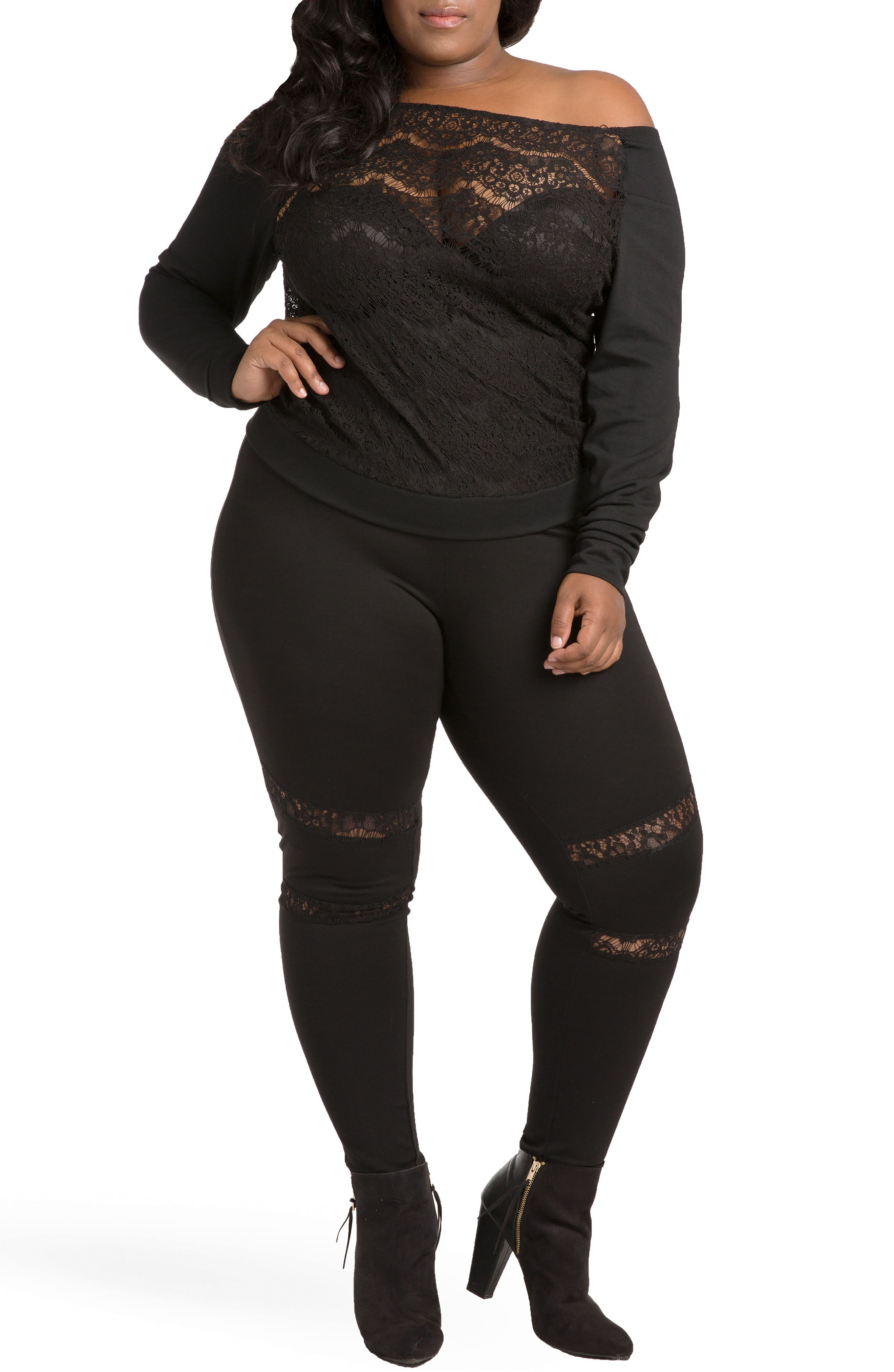 Janet Curvy Fit Leggings,                             Alternate thumbnail 2, color,                             Black