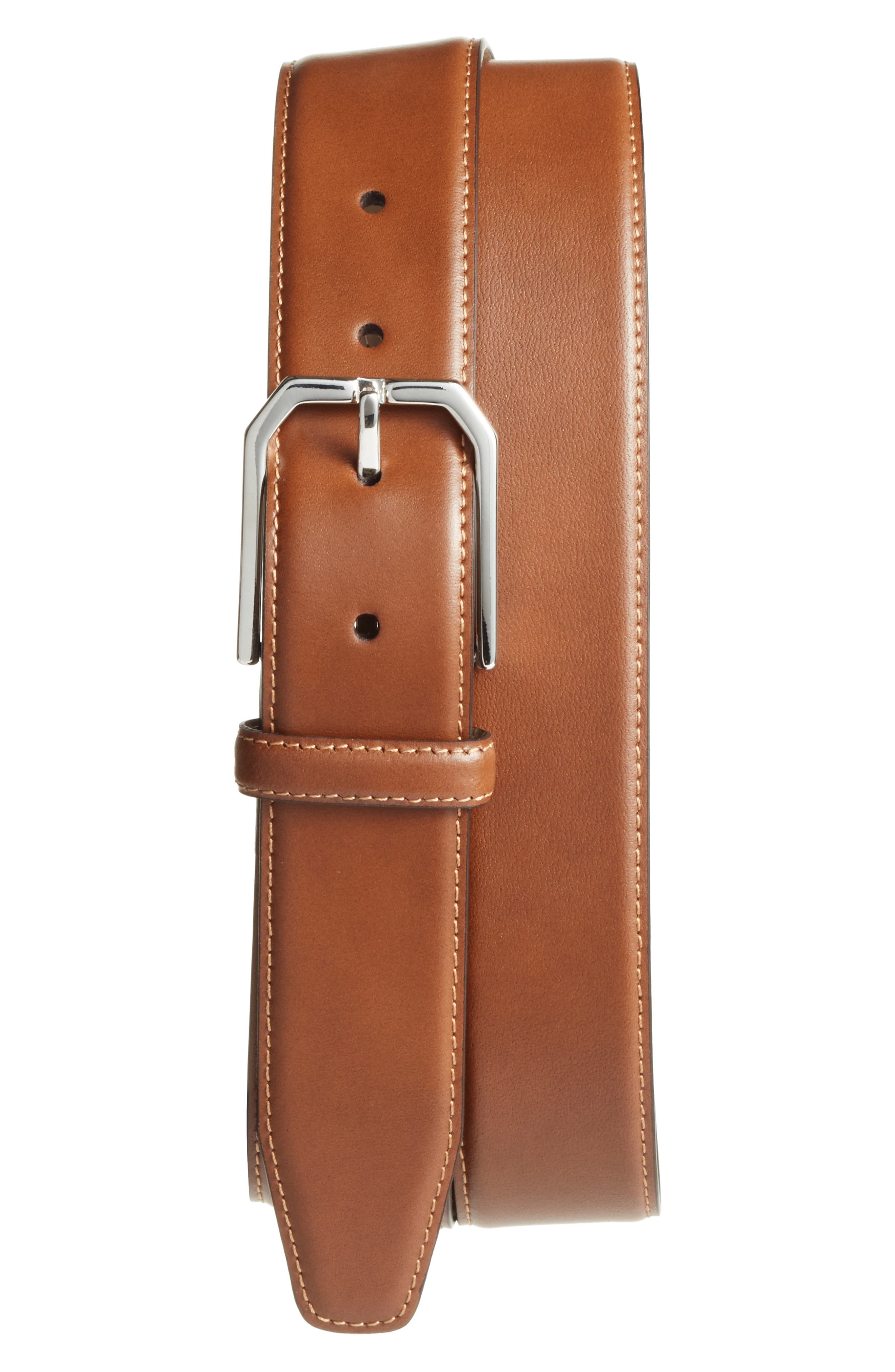Carmelo Leather Dress Belt,                             Main thumbnail 1, color,                             Tan