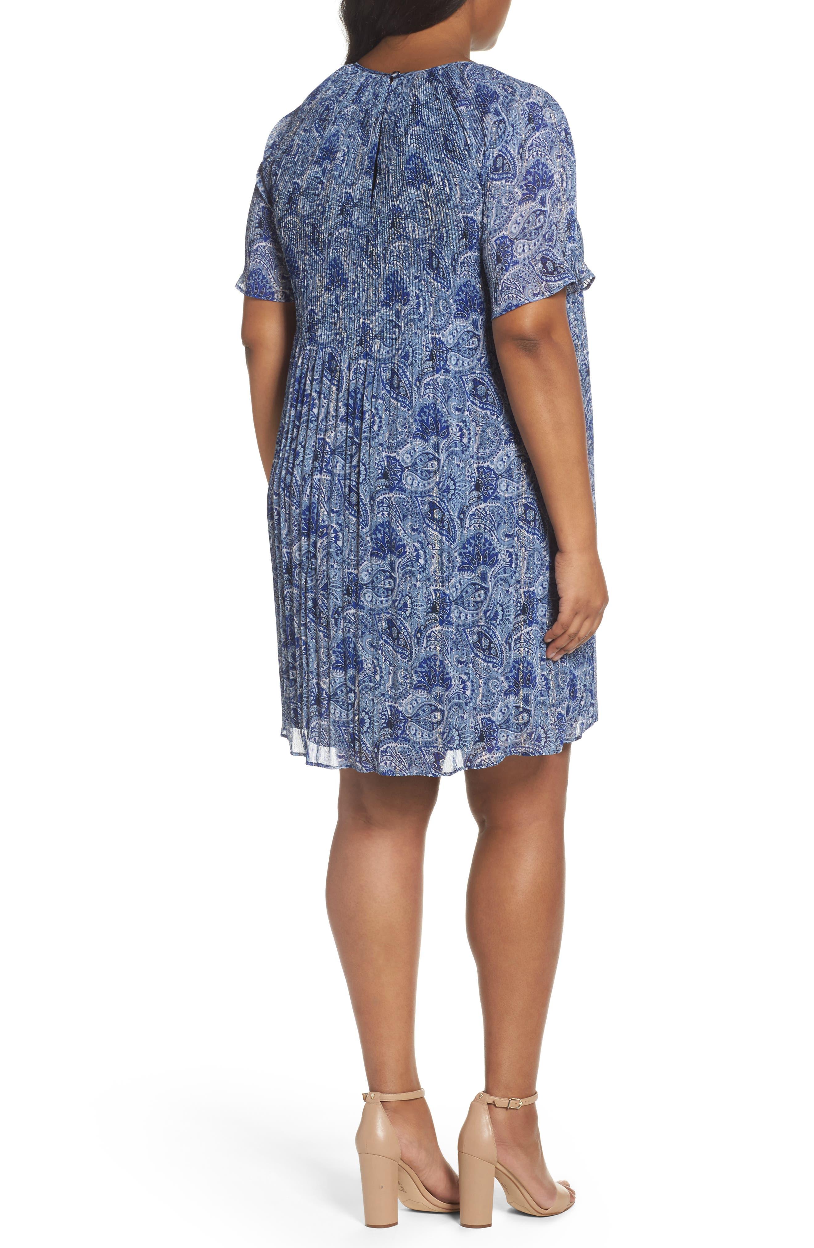 Kinley Pleat Shift Dress,                             Alternate thumbnail 2, color,                             True Navy