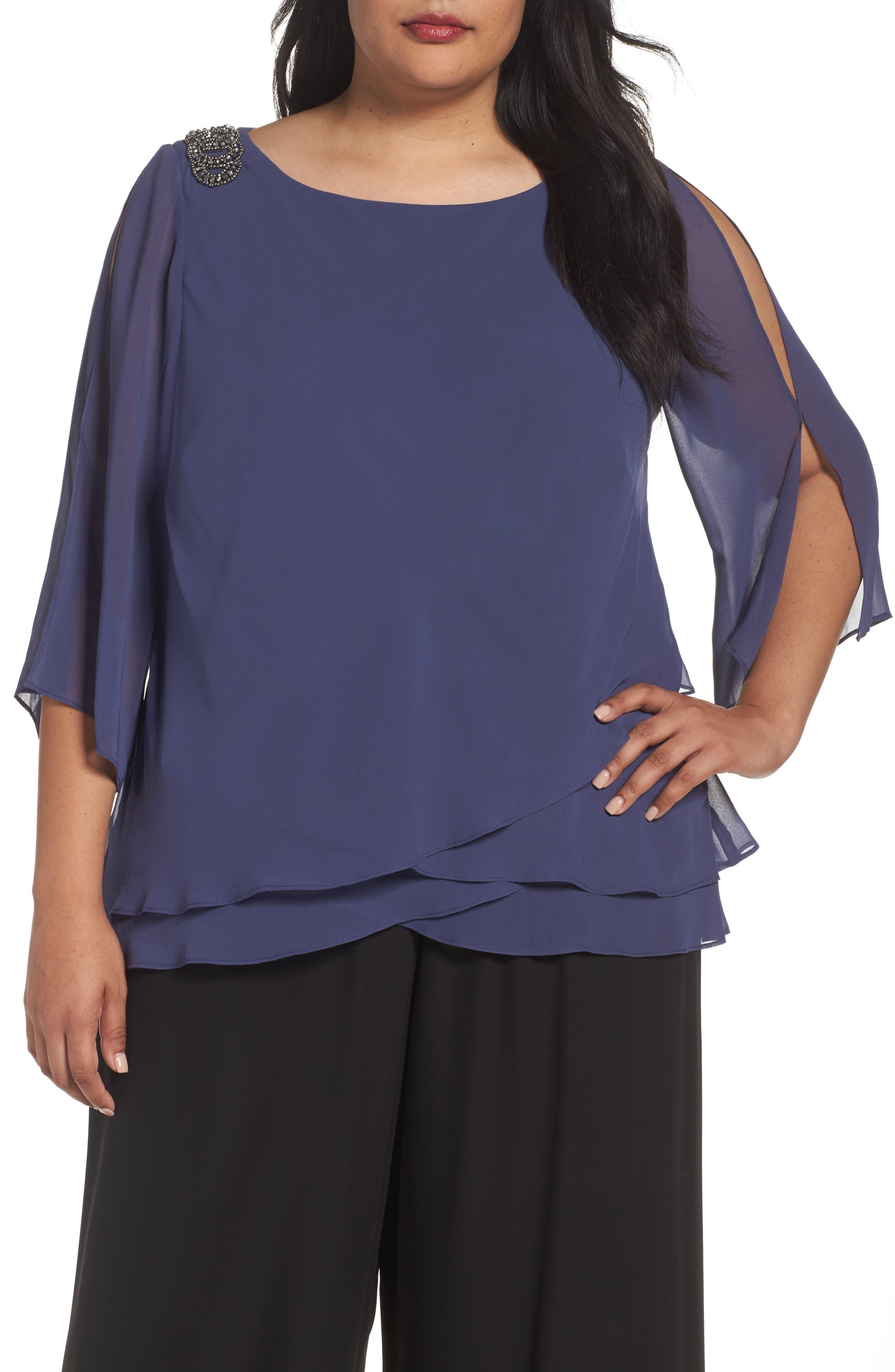 Alex Evenings Embellished Shoulder Tiered Blouse (Plus Size)
