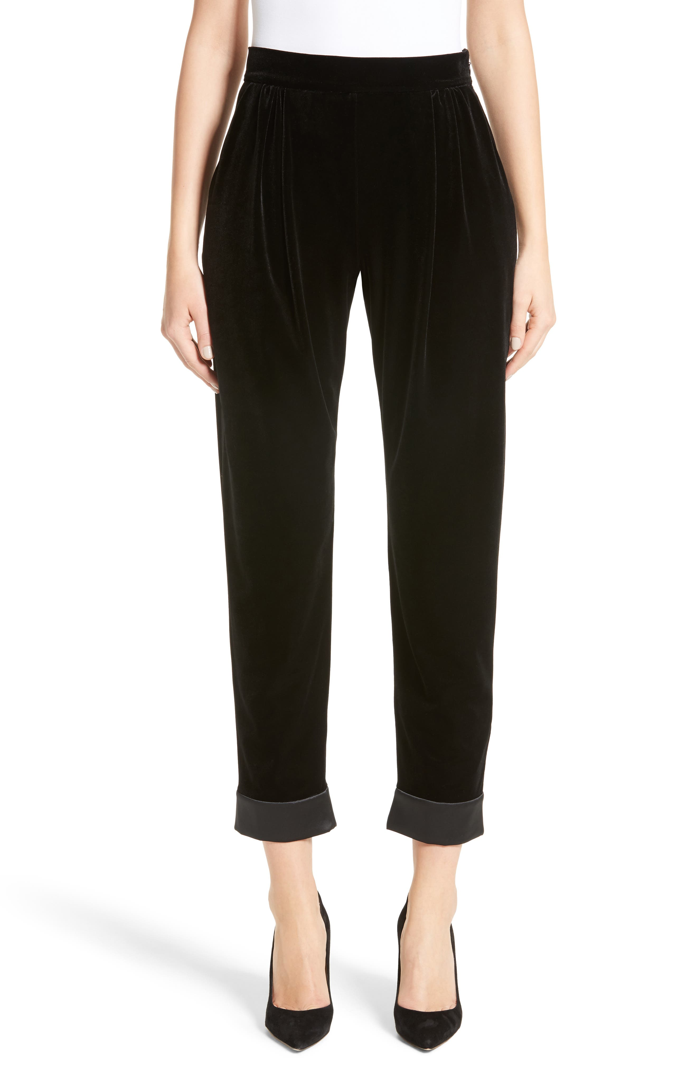 Main Image - Armani Collezioni Stretch Velvet Ankle Pants
