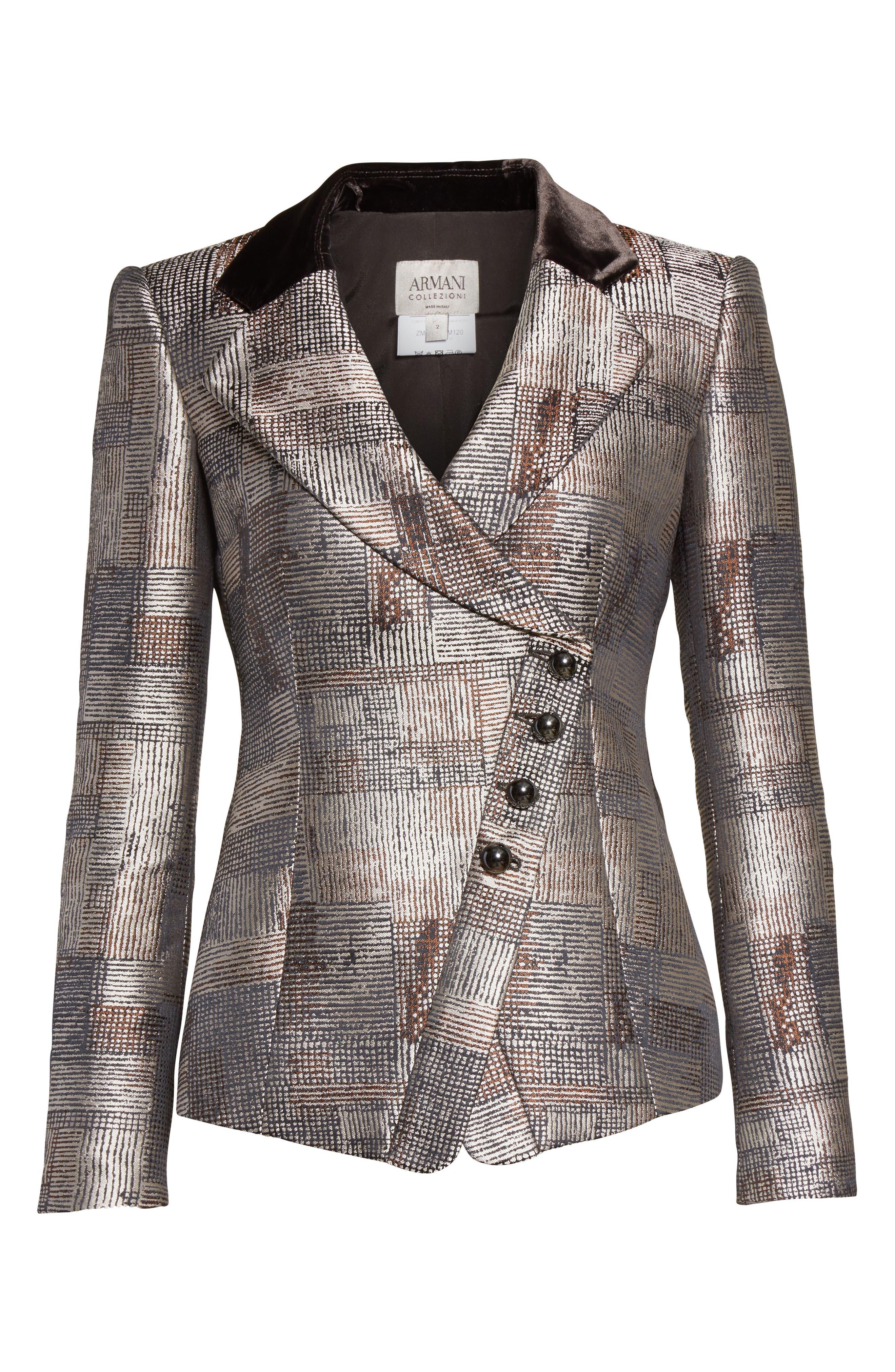 Panel Jacquard Asymmetrical Jacket,                             Alternate thumbnail 4, color,                             Multi