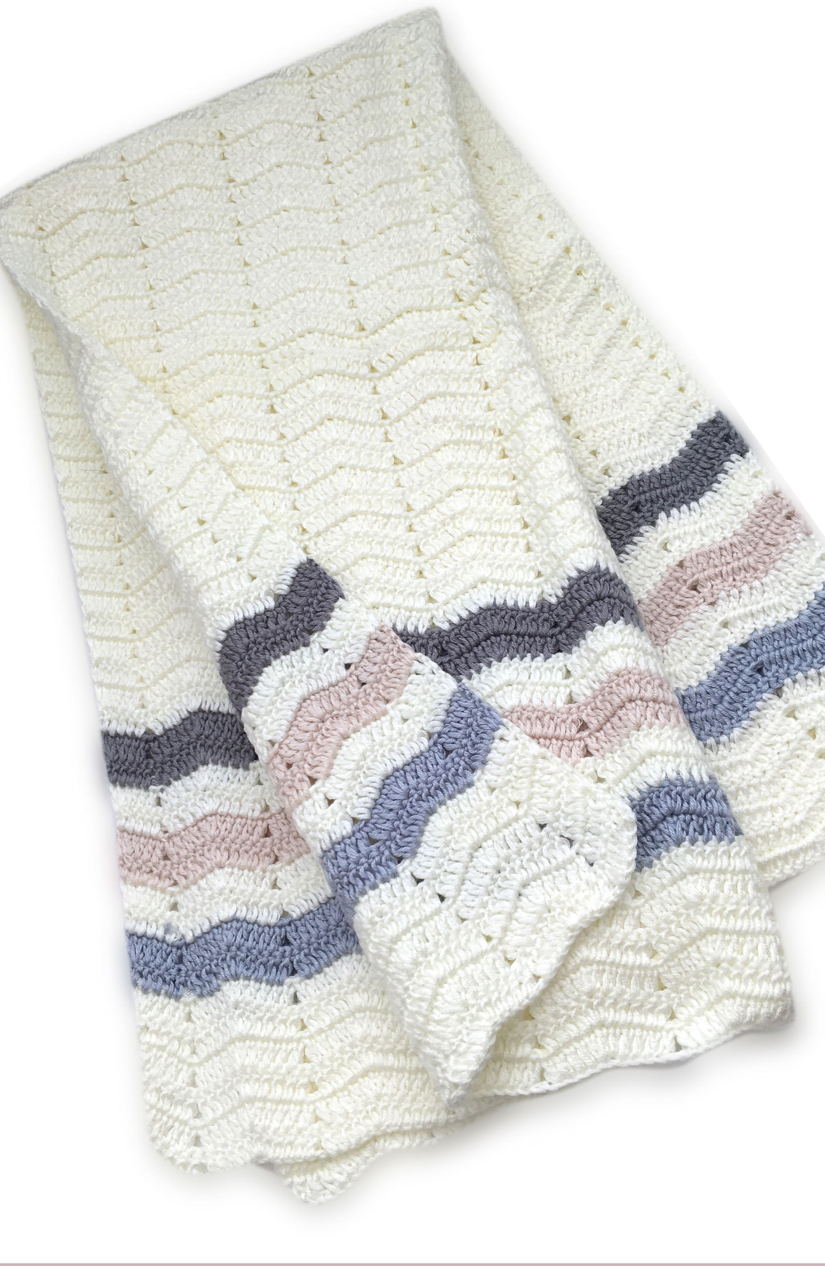 Ripple Crocheted Blanket,                         Main,                         color, Blue