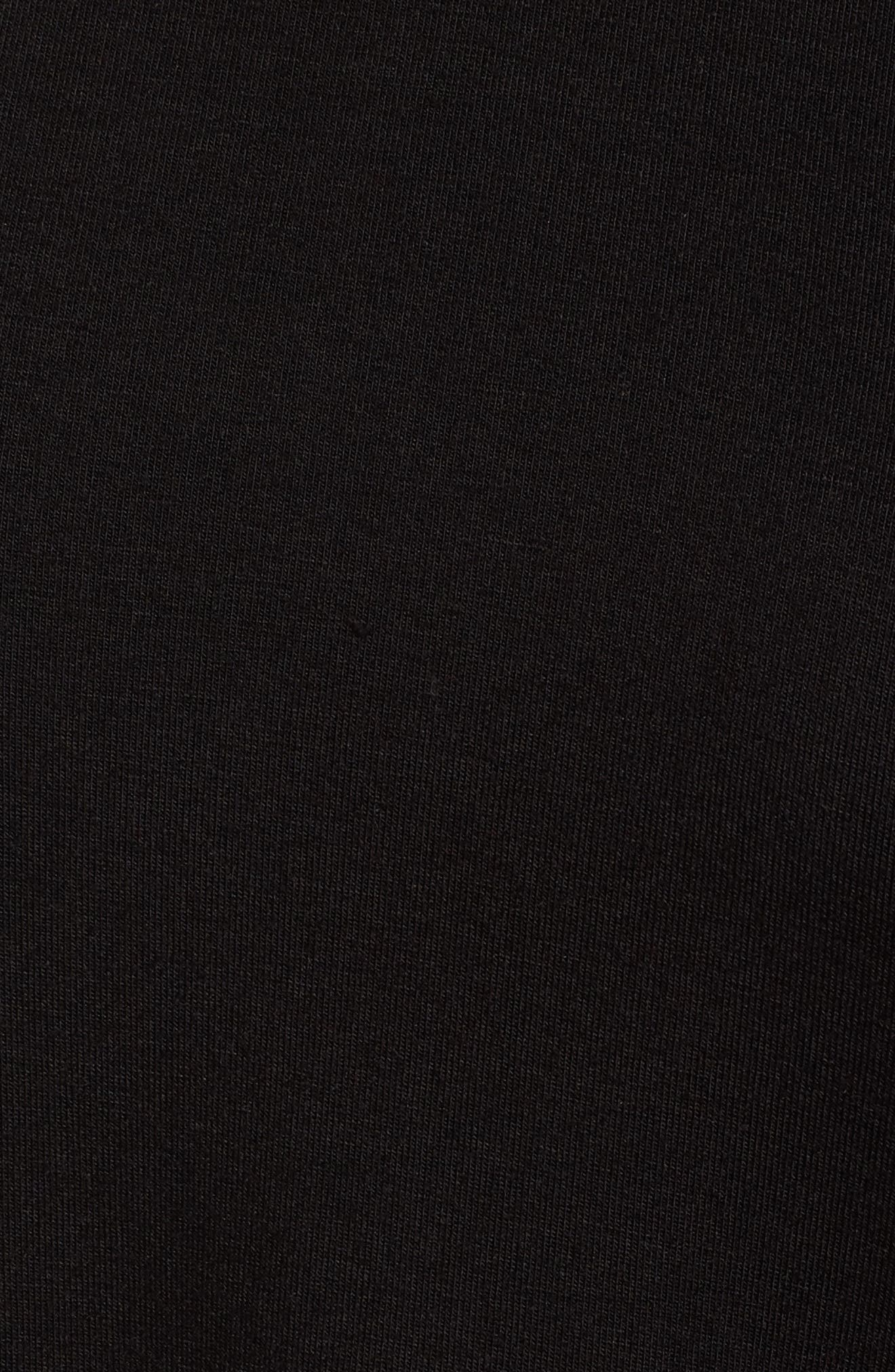 Stretch Cotton Peplum Top,                             Alternate thumbnail 5, color,                             Black