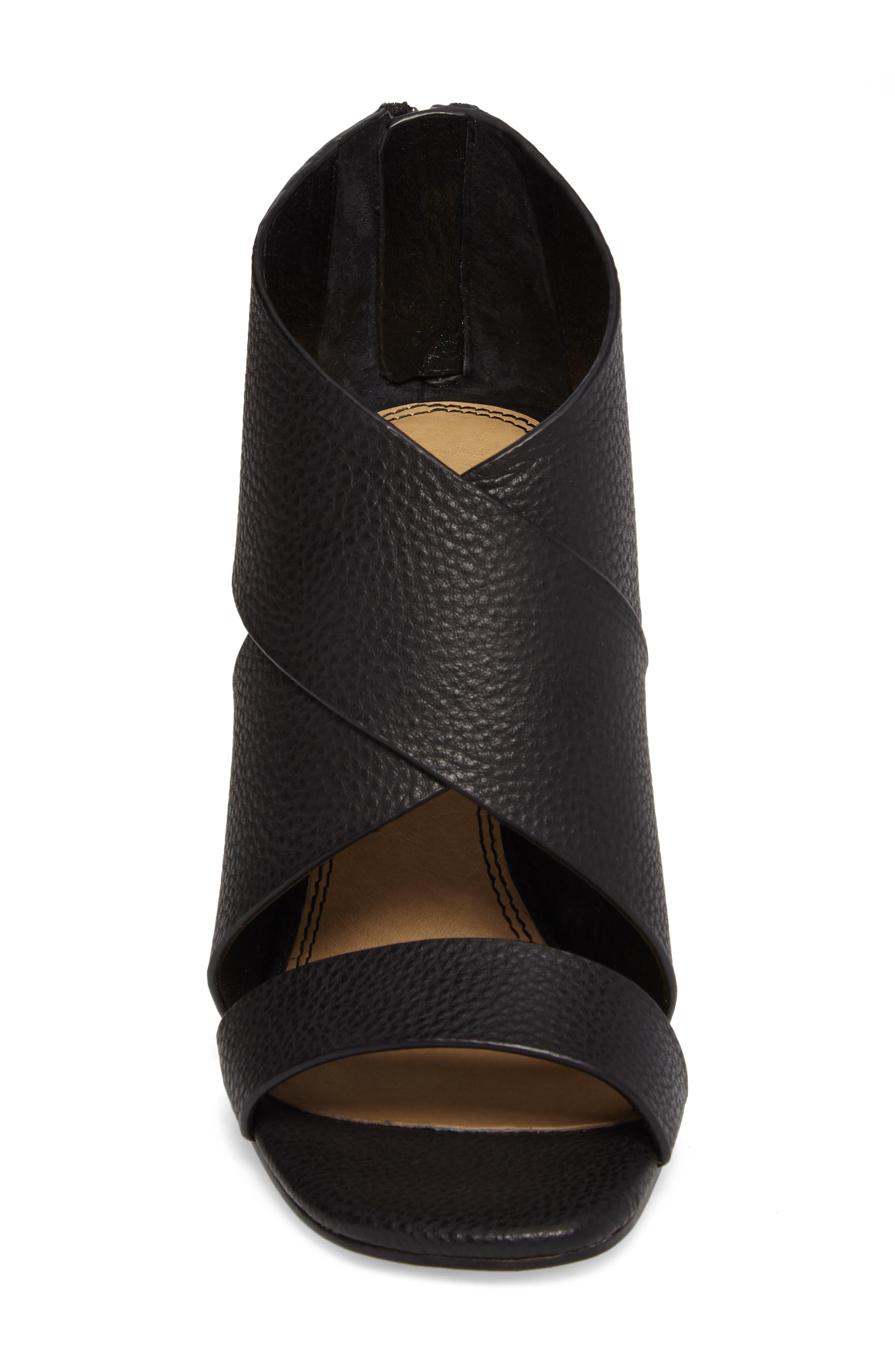 Danett Cross Strap Sandal,                             Alternate thumbnail 4, color,                             Black Leather