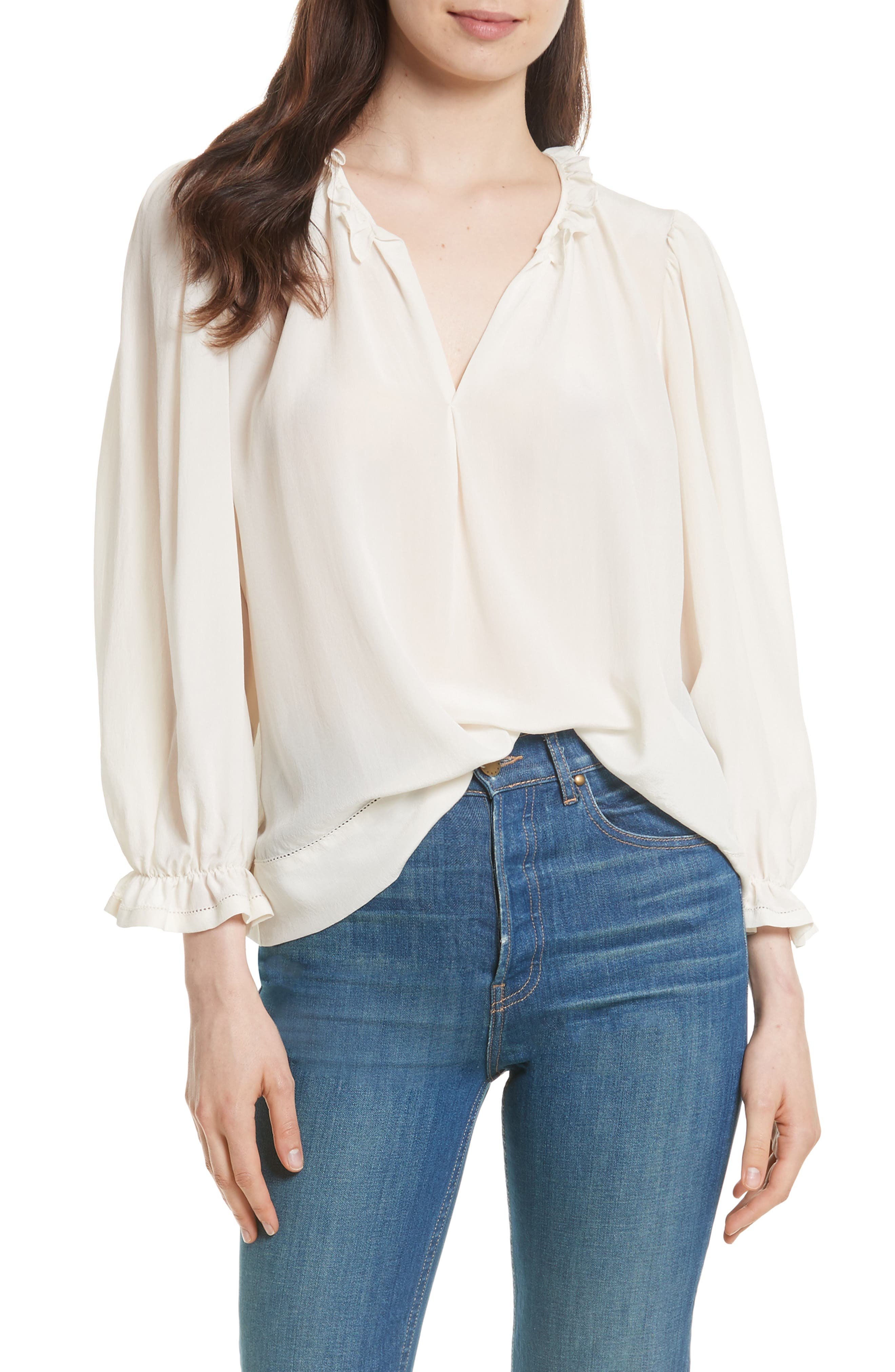 The Long Sleeve Story Silk Top,                         Main,                         color, Cream