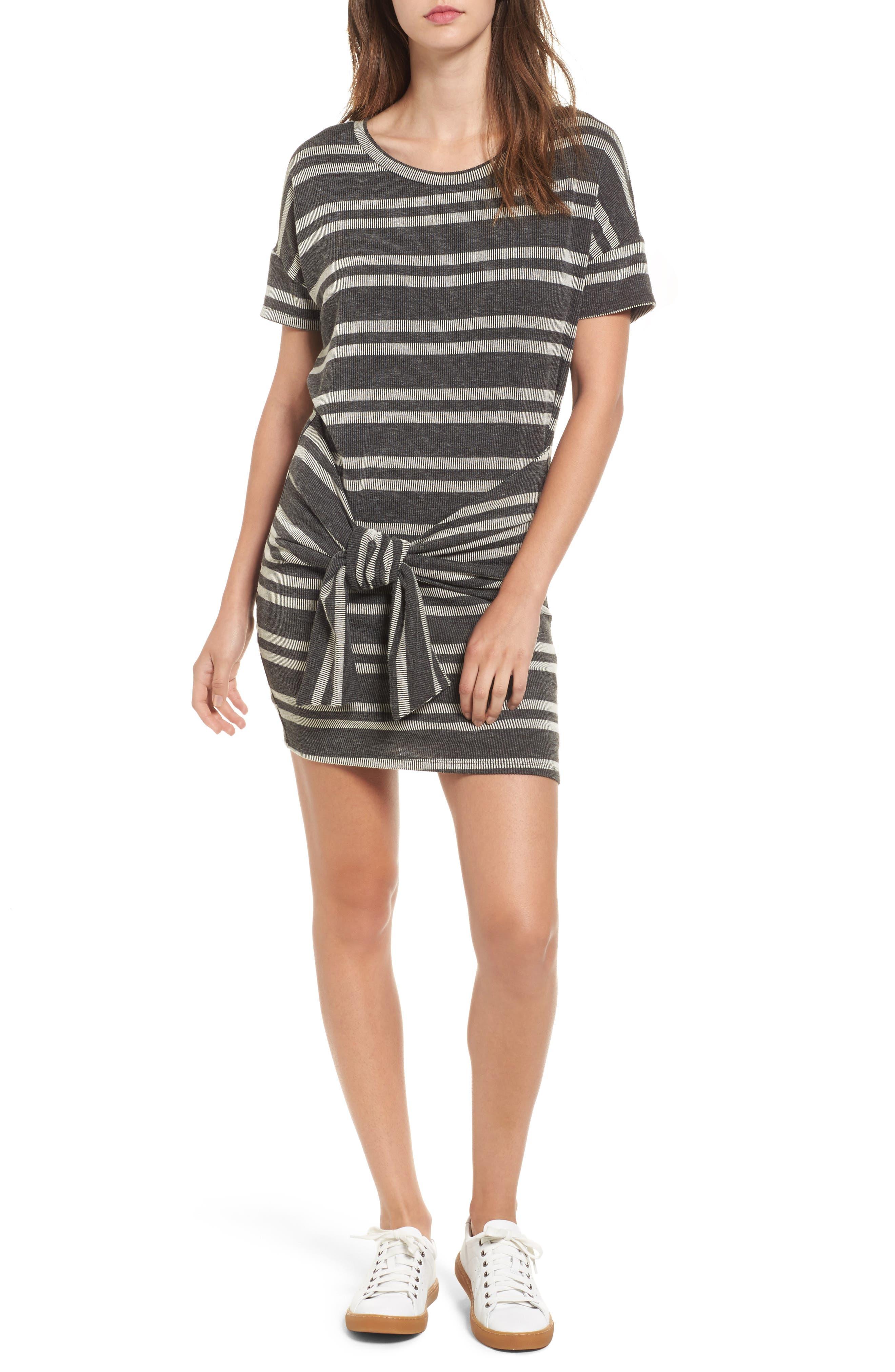 Lush Tie Front Stripe Knit Dress