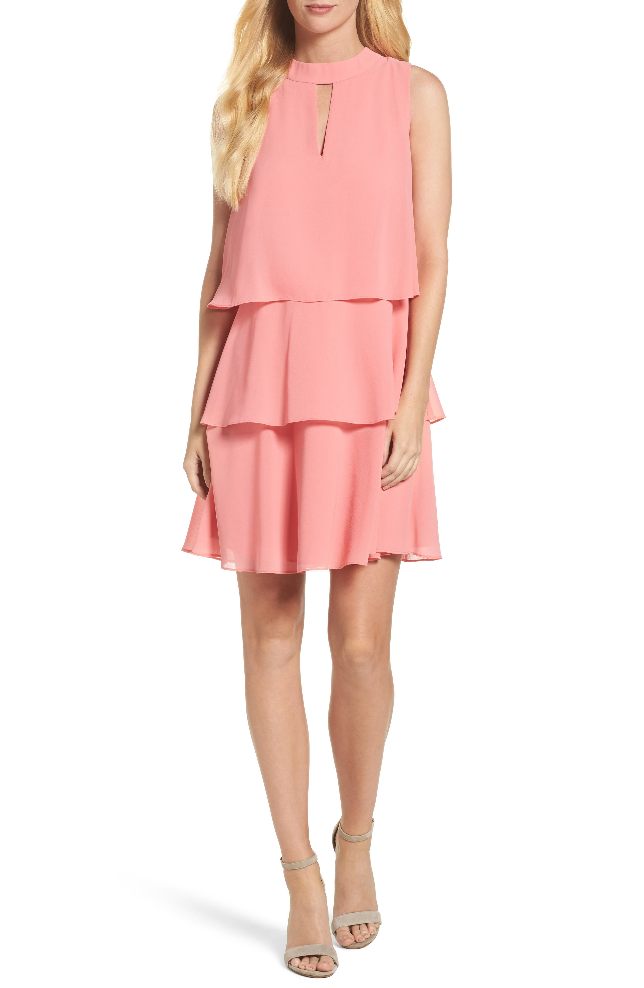 Tiered Chiffon Dress,                         Main,                         color, Guava