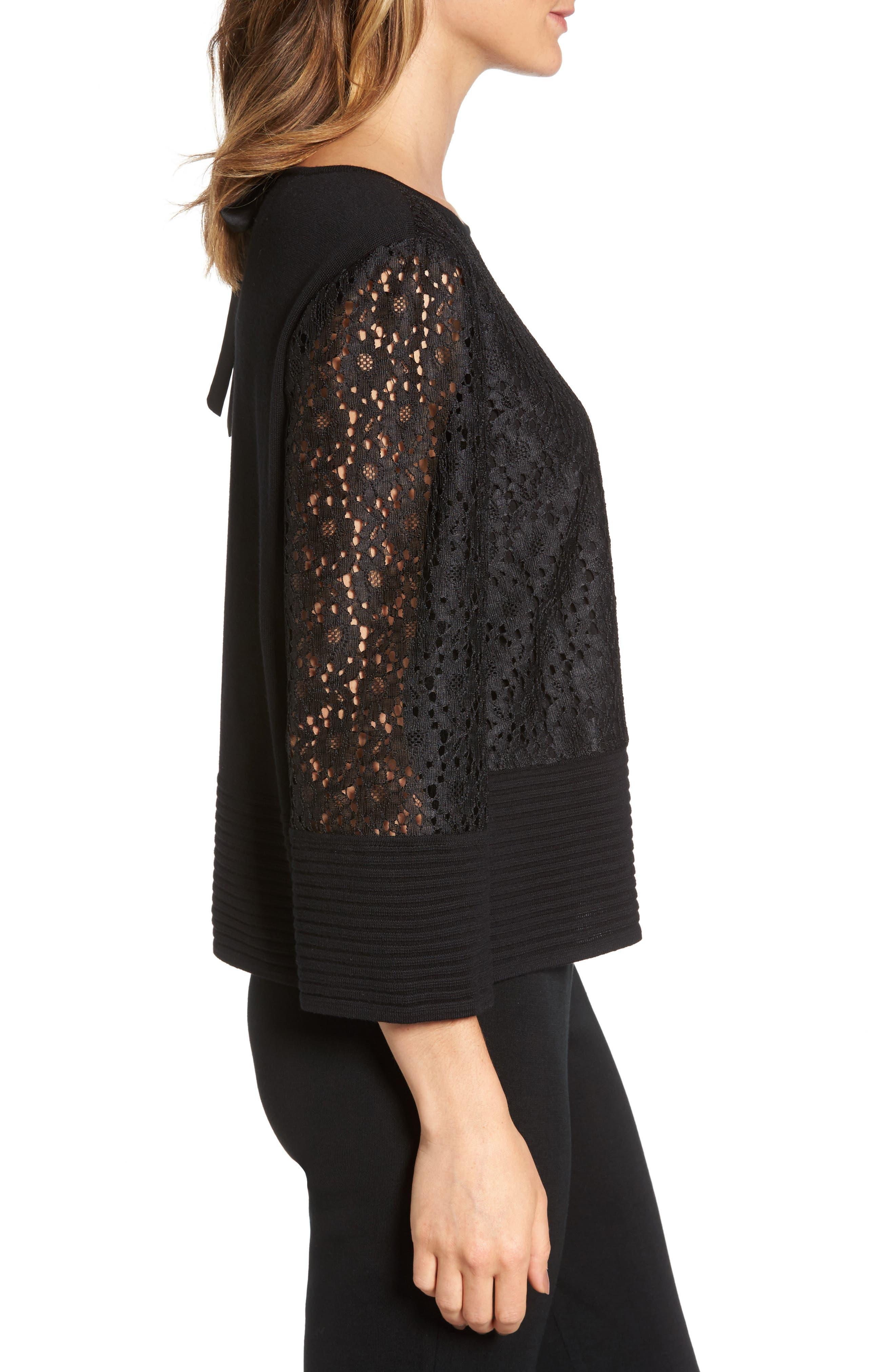 Alternate Image 3  - Ming Wang Lace & Knit Top