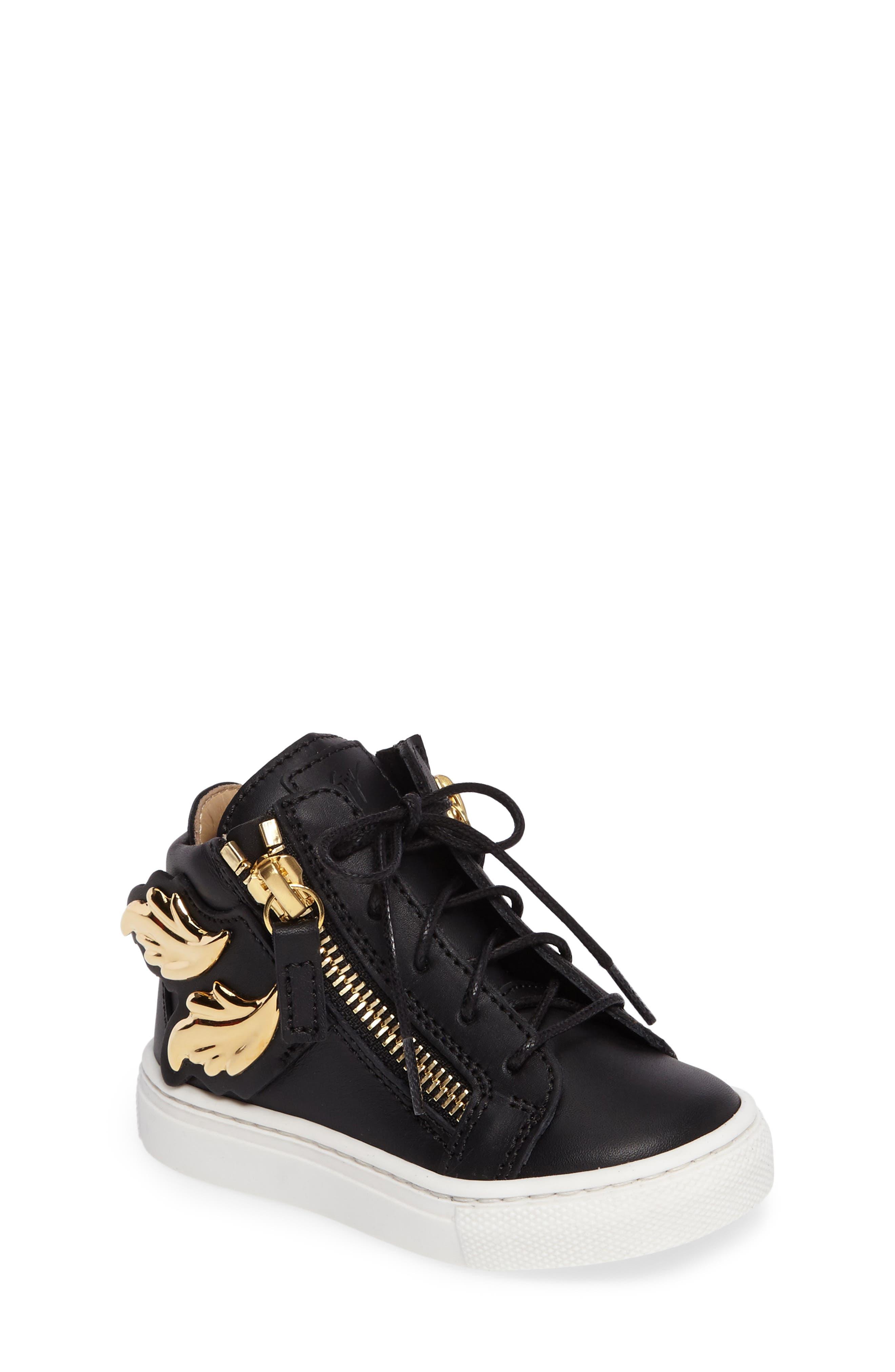 Giuseppe Zanotti Foglia Embellished Zip Sneaker (Baby, Walker & Toddler)