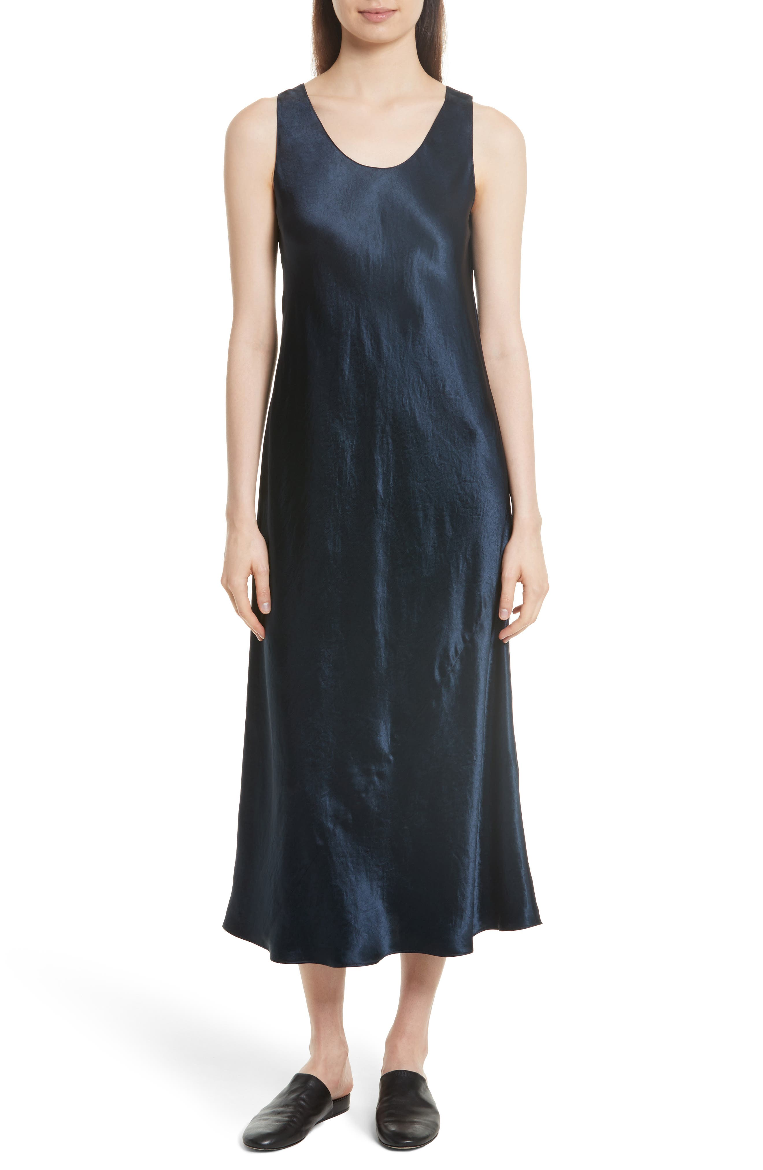 Vince Bias Cut Satin Midi Dress