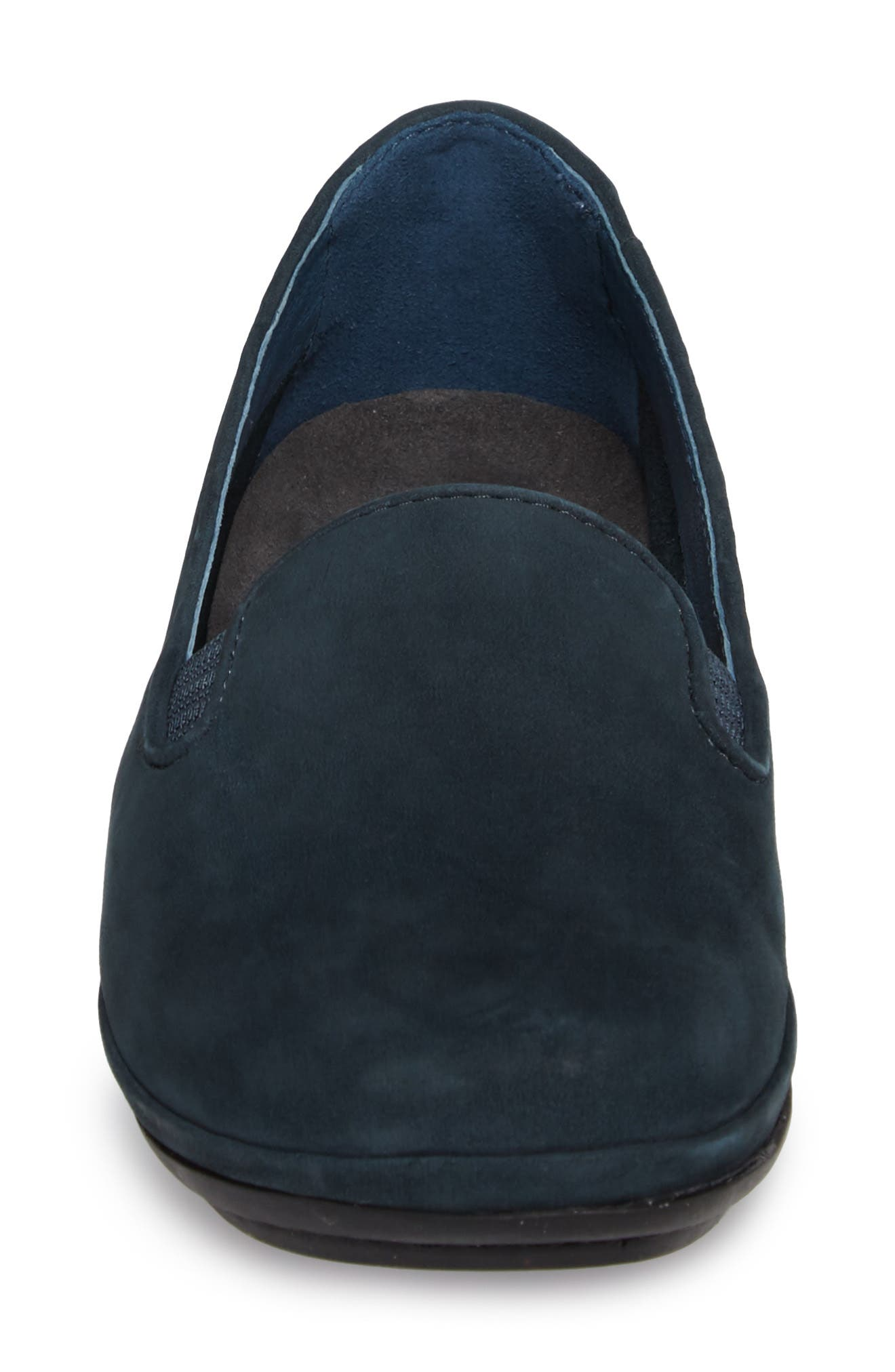 'Right Nina' Leather Flat,                             Alternate thumbnail 4, color,                             Dark Blue Leather