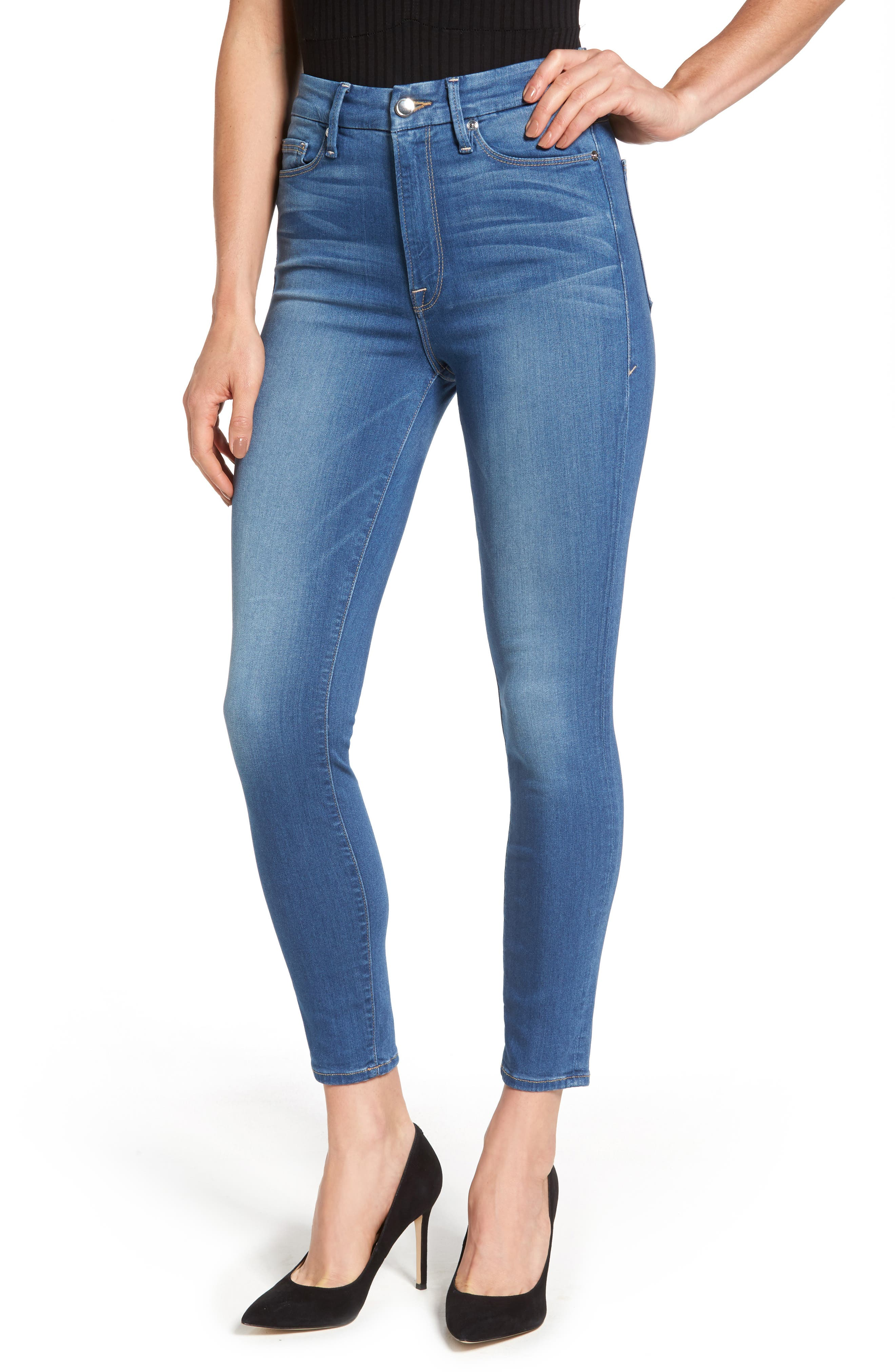 Good American Good Waist High Waist Crop Skinny Jeans (Blue 056) (Extended Sizes)
