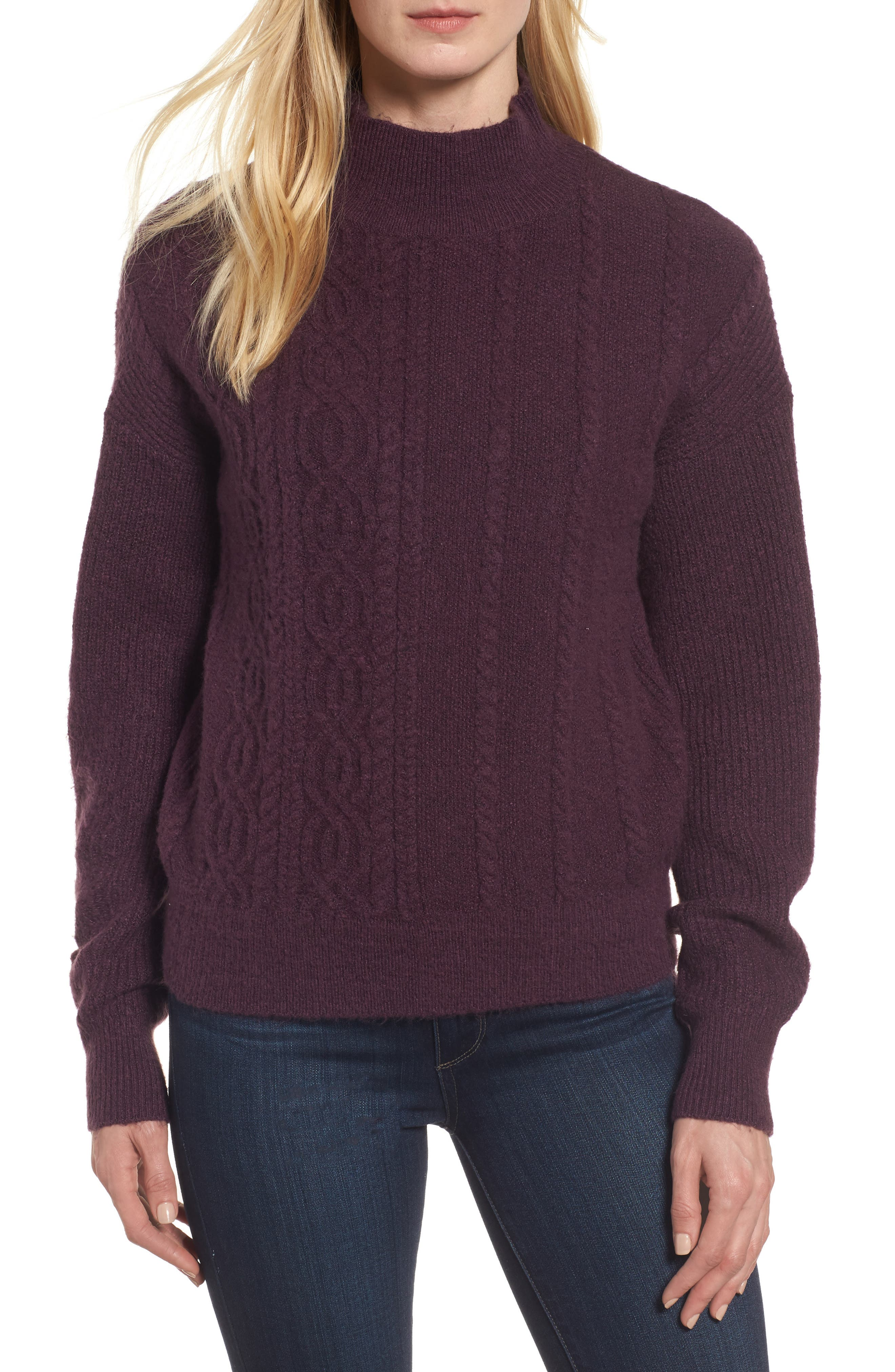 Main Image - Halogen® Mock Neck Cable Knit Sweater (Regular & Petite)